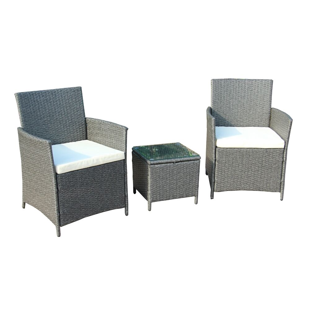 Vernice 3 Piece Rattan 2 Person Seating Group with Cushions Frame Finish: Gray