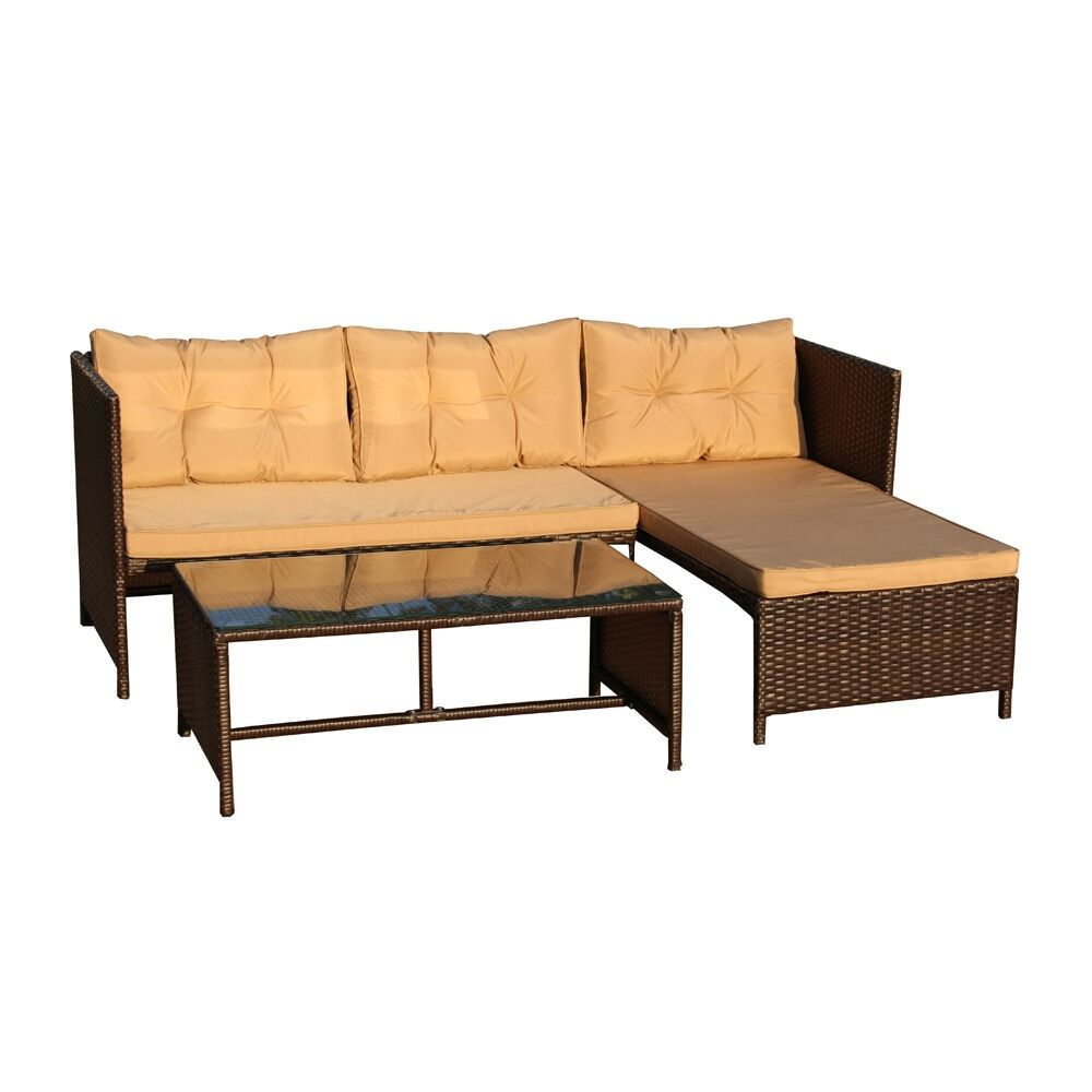 Cerritos 3 Piece Rattan Sectional Seating Group with Cushions