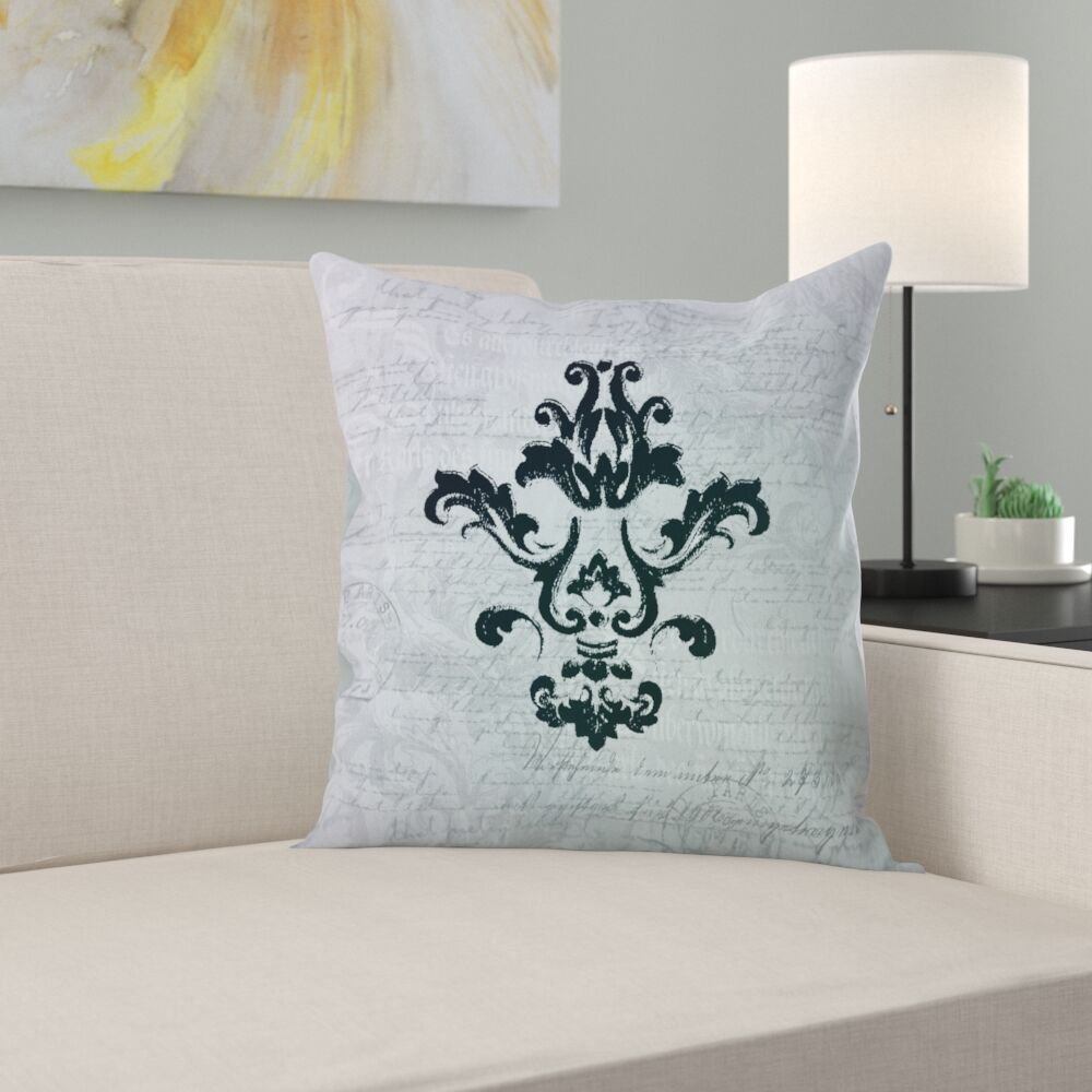 Teal Baroque Ornament Throw Pillow Size: 16