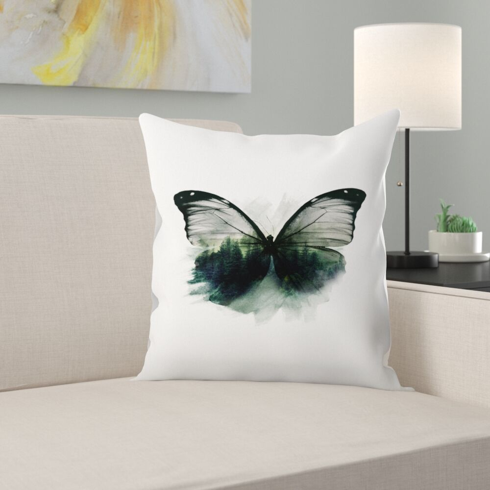 Double Butterfly Throw Pillow Size: 16