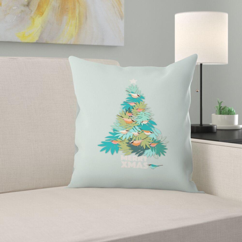 Tropical Xmas Throw Pillow Size: 16
