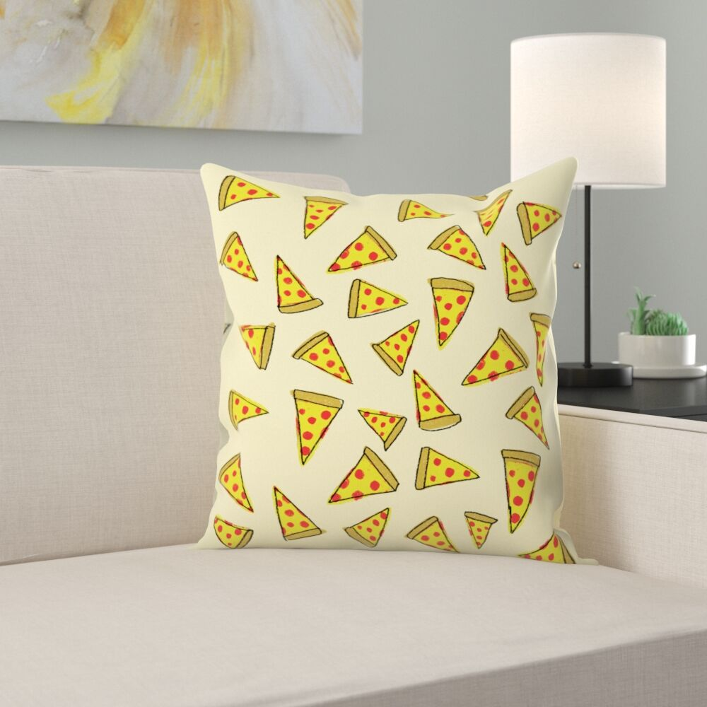 Pizza Party Throw Pillow Size: 14
