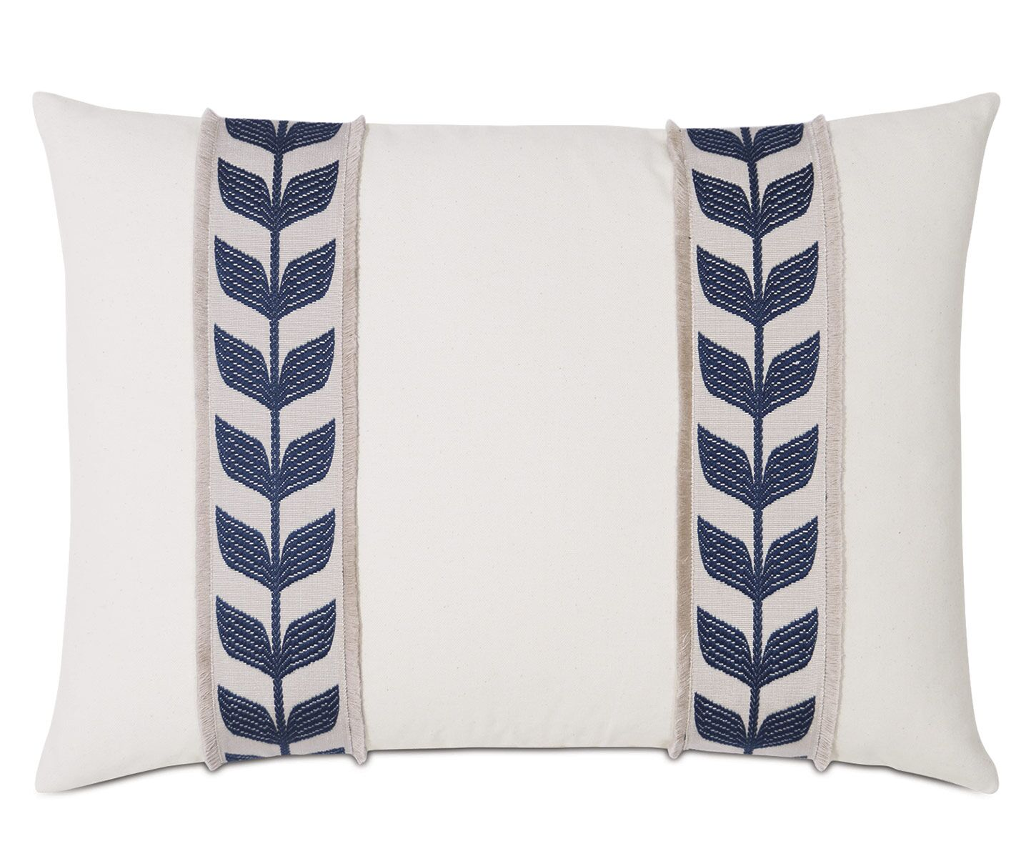 Akela Botanical Border Trim Cotton Lumbar Pillow Color: Blue