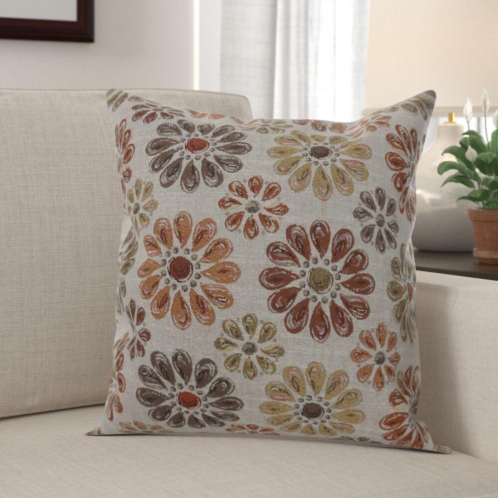 Almaraz Contemporary Floral Throw Pillow Size: 18