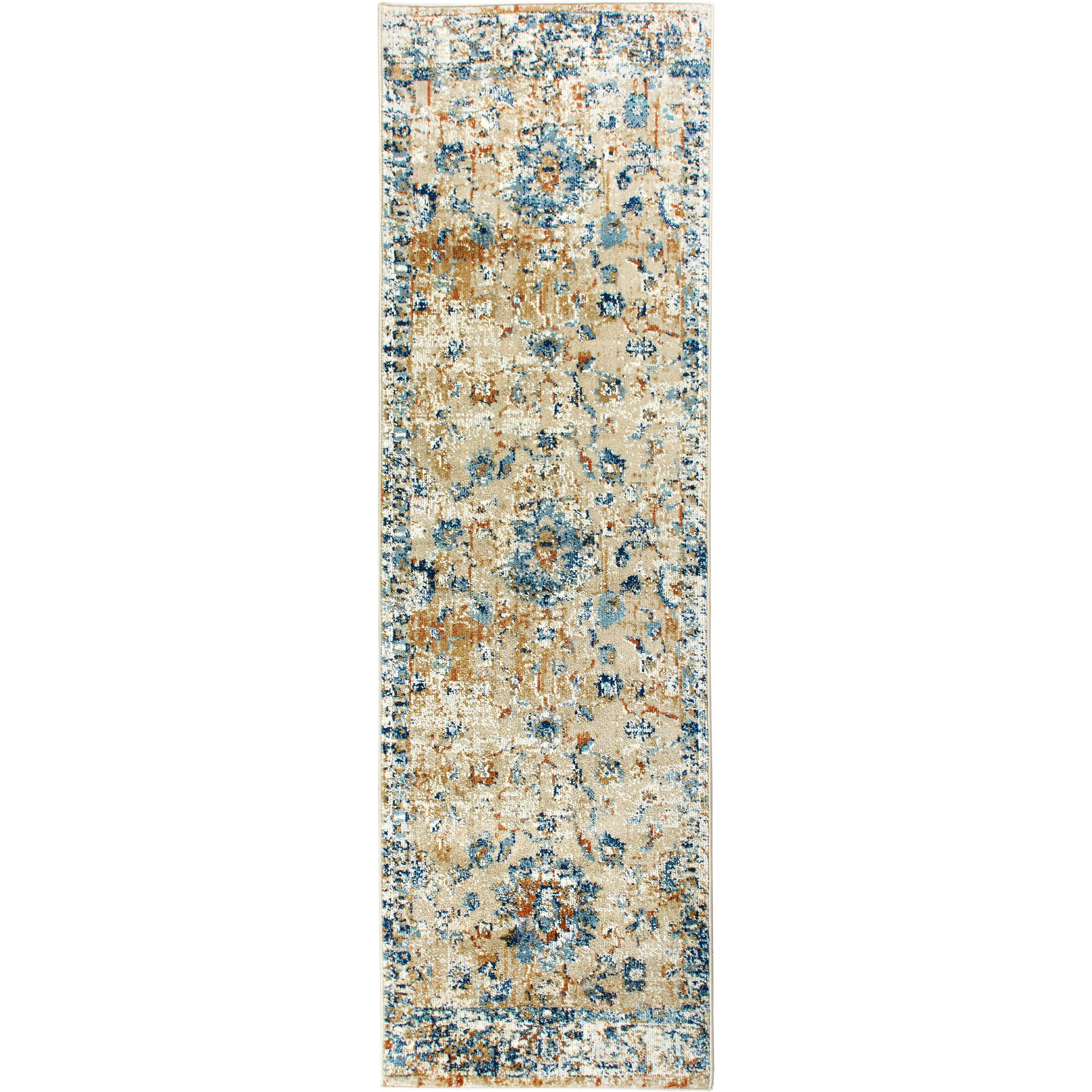 Heritage Cotton Gray/Blue Area Rug Rug Size: Runner 2'2