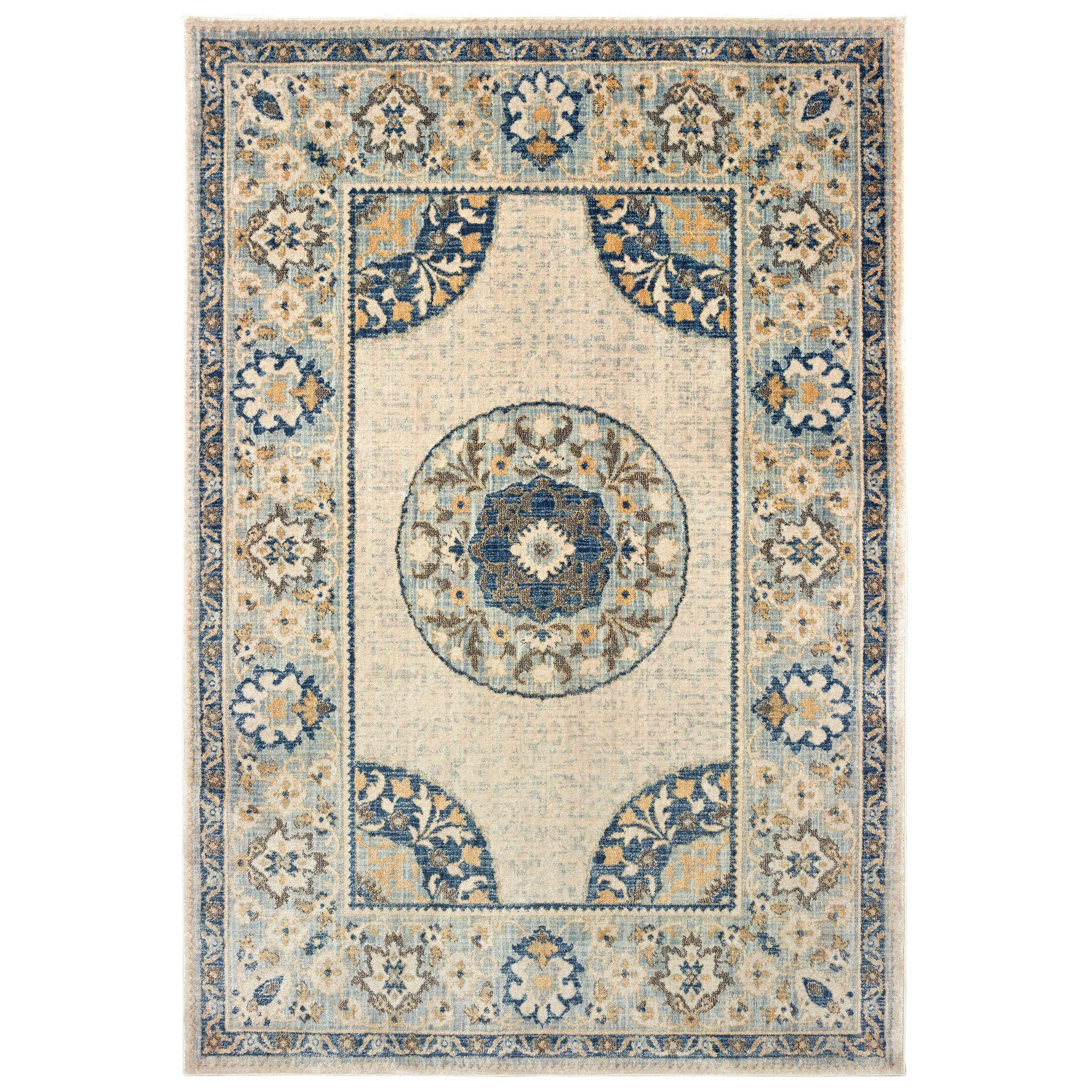 Pateros Floral Medallion Ivory/Blue Area Rug Rug Size: Rectangle 6'7
