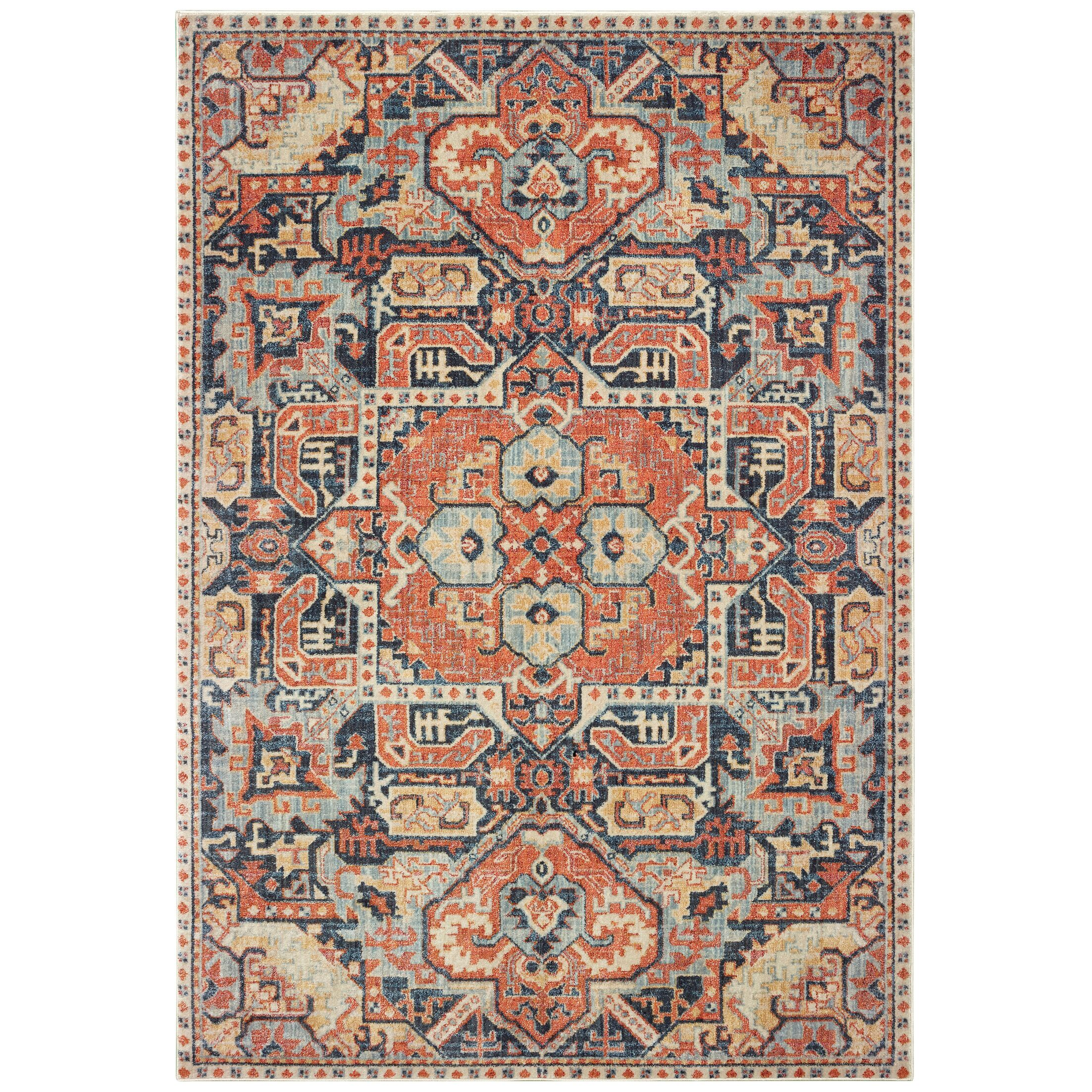 Pateros Distressed Tribal Blue/Orange Area Rug Rug Size: Runner 2'3