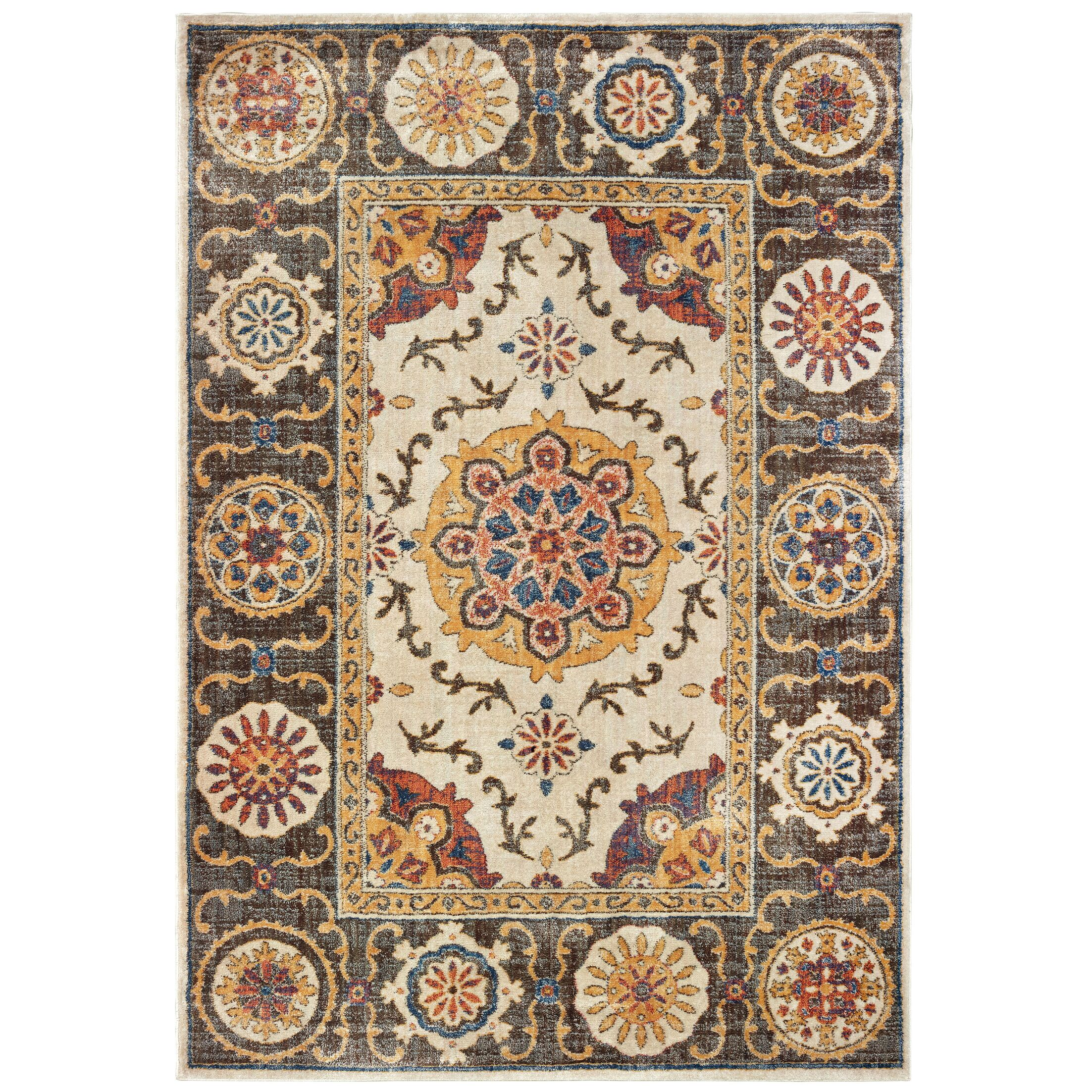 Pateros Tribal Medallions Ivory/Brown Area Rug Rug Size: Rectangle 3'10