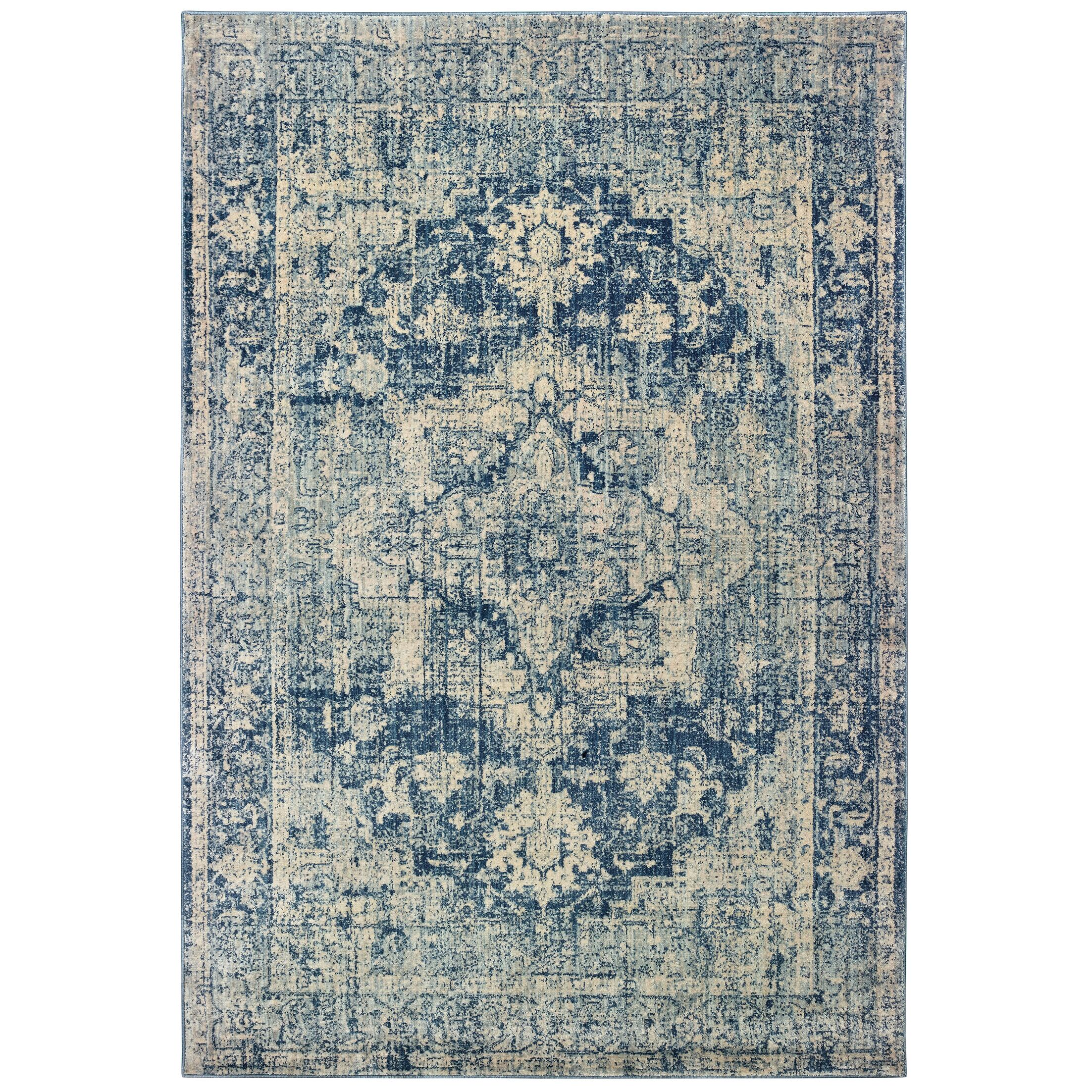 Pateros Distressed Medallion Ivory/ Blue Area Rug Rug Size: Rectangle 7'10
