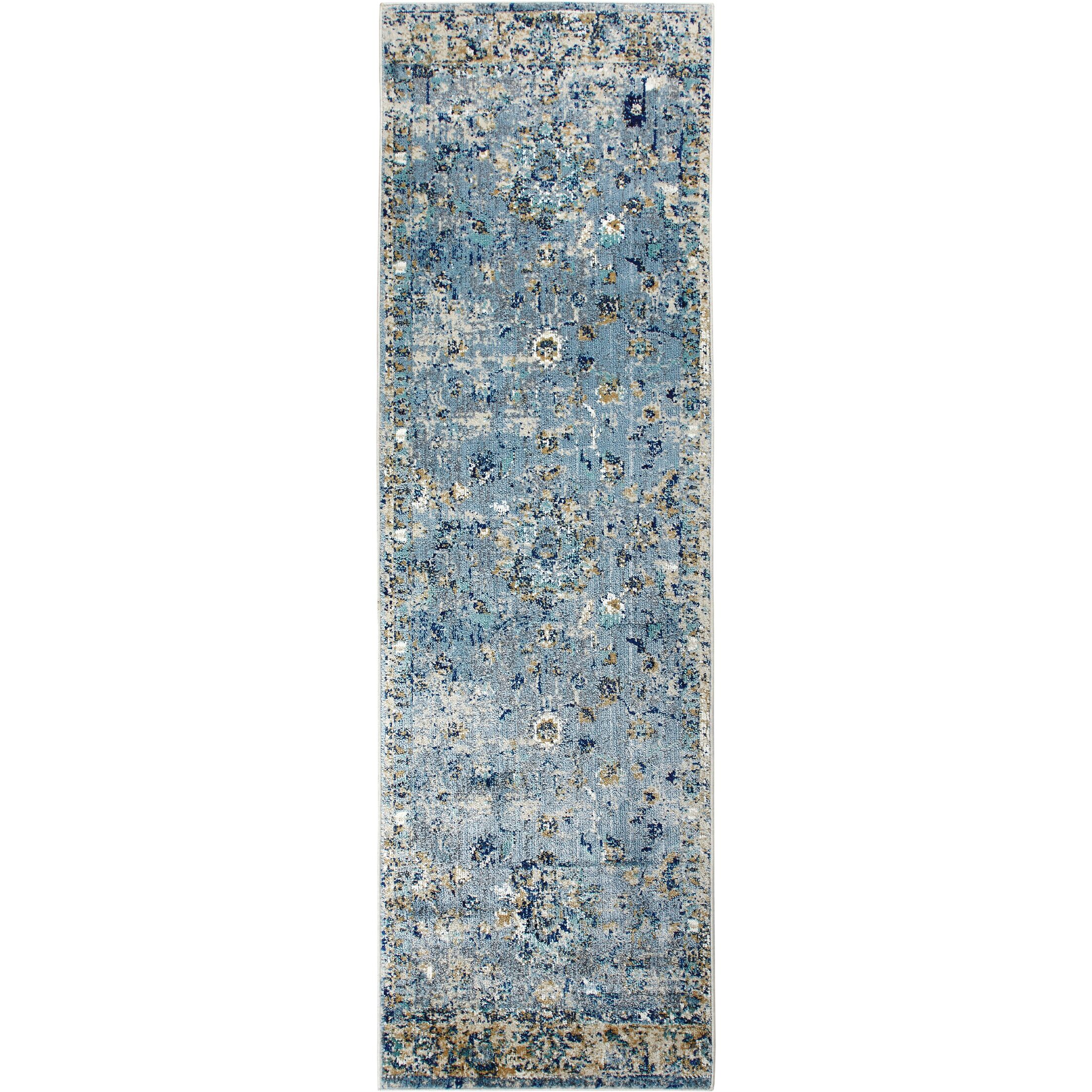 Heritage Cotton Blue/Yellow Area Rug Rug Size: Runner 2'2