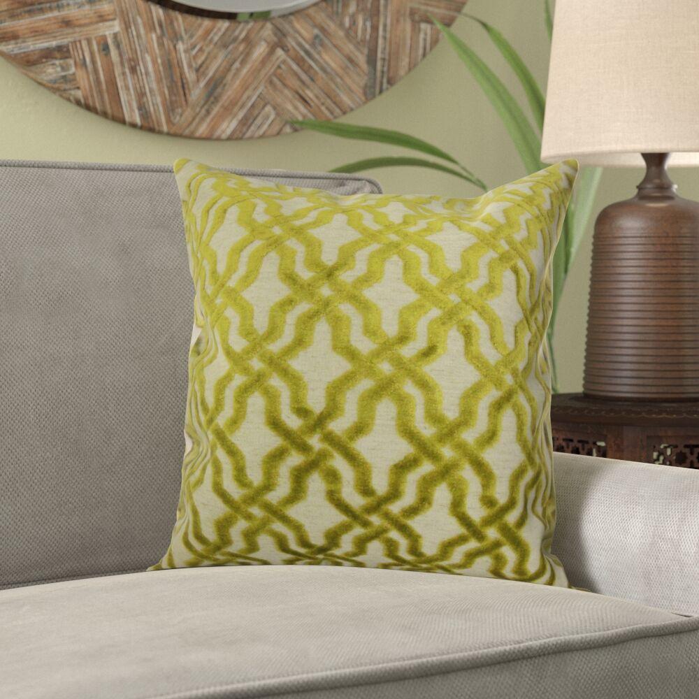 Kirkland Geometric Velvet Pillow Color: Lime, Size: 20