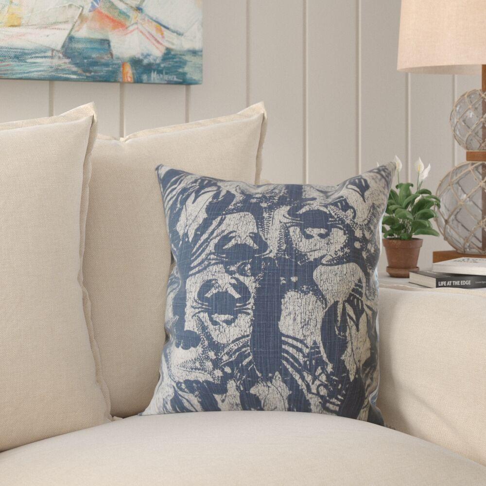 Cordelia Coastal Cotton Pillow Color: Blue, Size: 20
