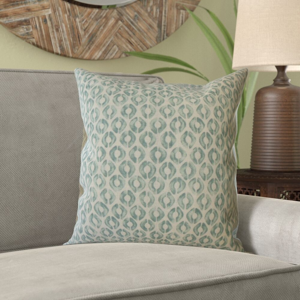 Kurtz Geometric Linen Pillow Color: Green, Size: 20