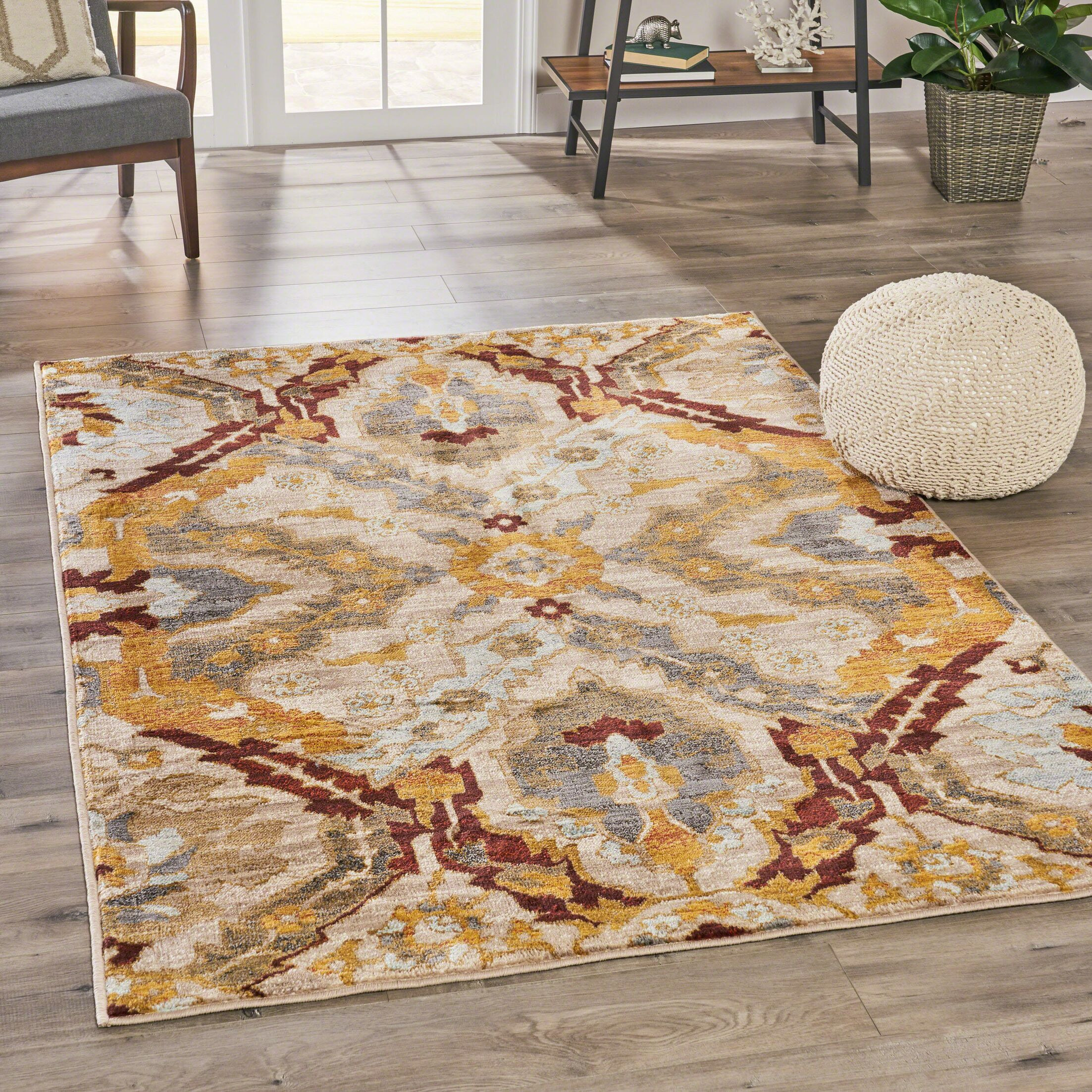 Rouleau Abstract Beige Area Rug Rug Size: Rectangle 7'8
