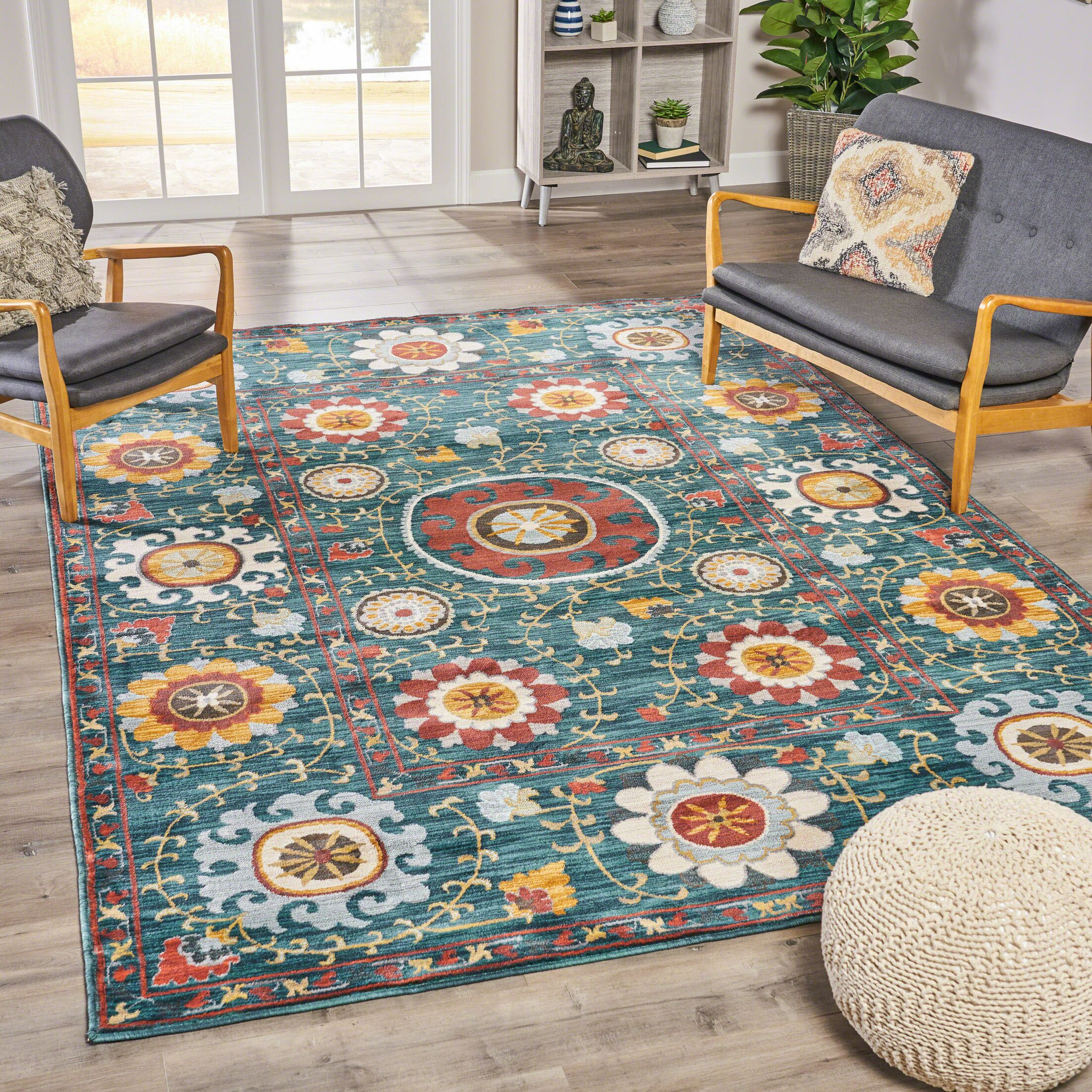 Mckenny Abstract Floral Blue Area Rug Rug Size: Rectangle 5'3