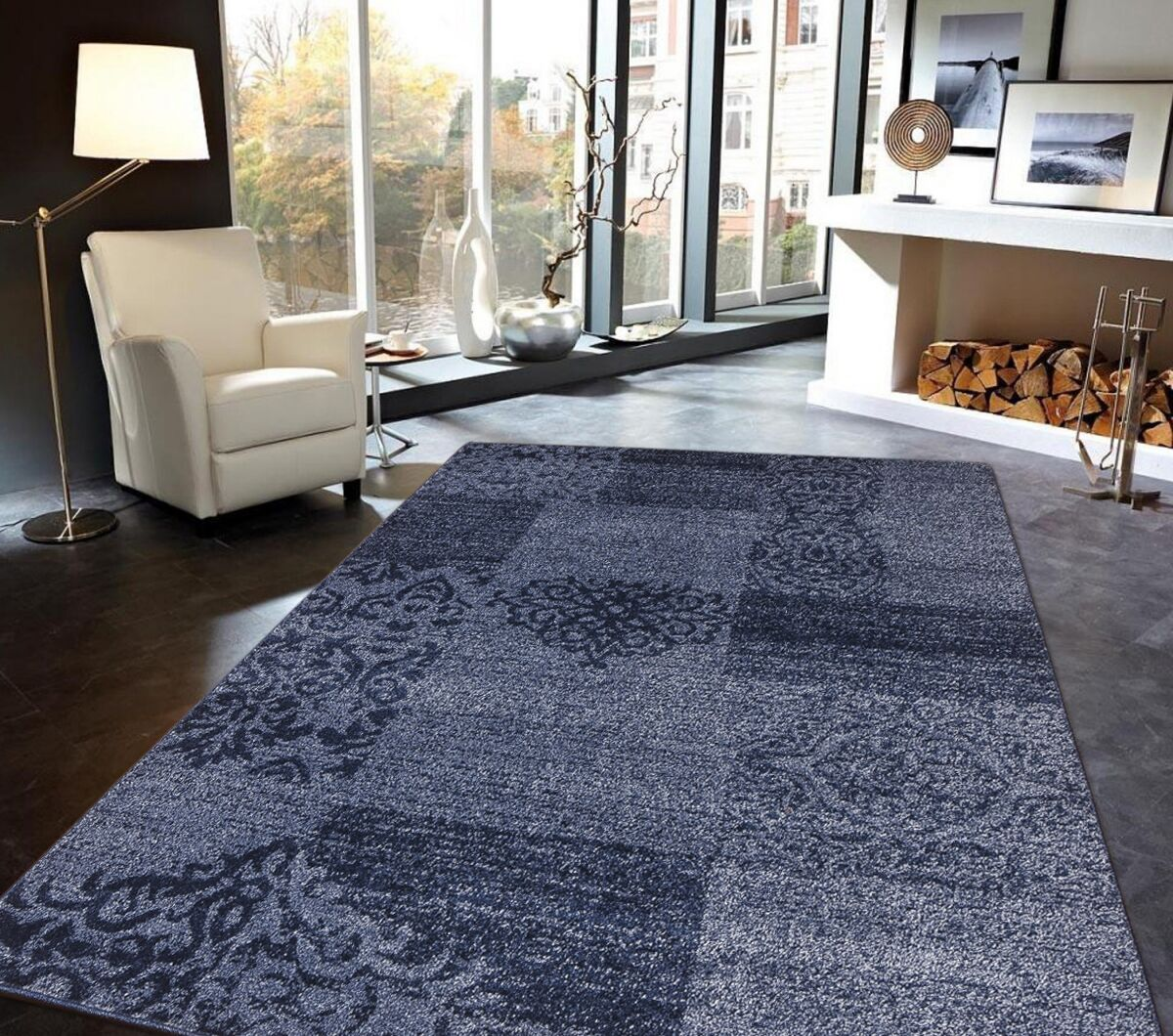 Greenfield Blue Area Rug Rug Size: Rectangle 5' x 7'