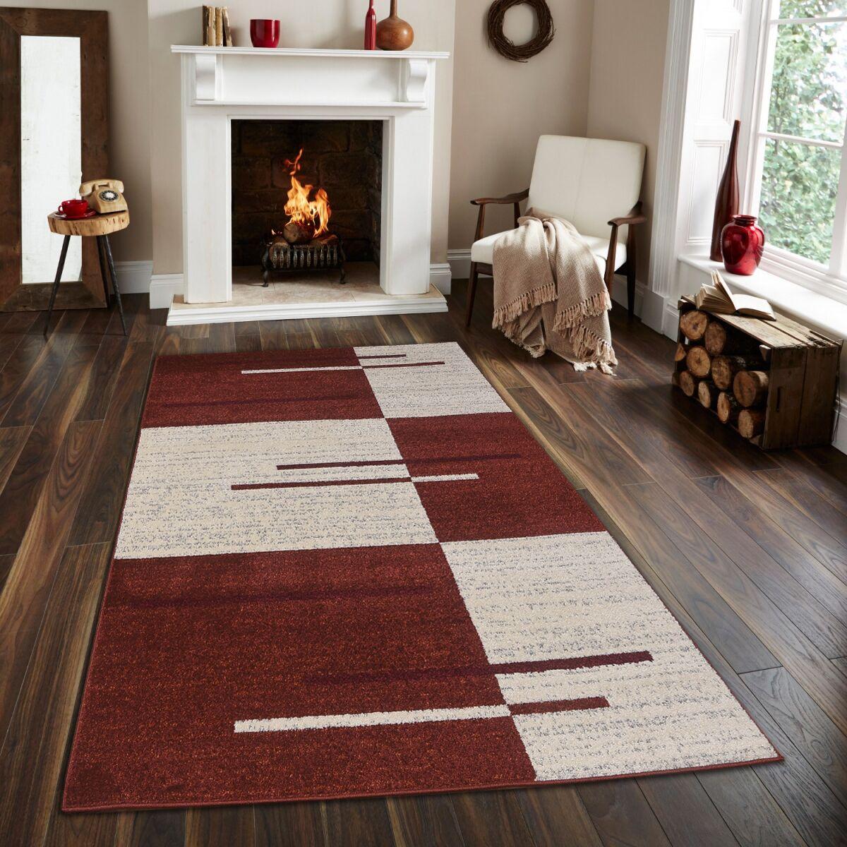 Swinehart Red/Beige Area Rug Rug Size: Rectangle 5' x 7'