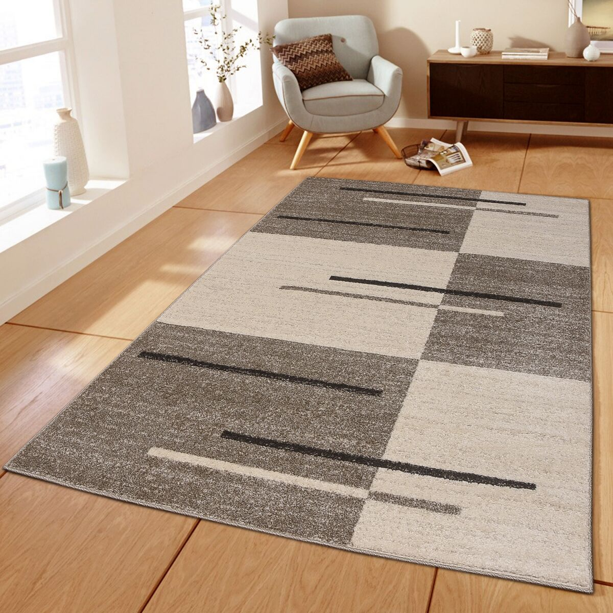 Swinehart Brown/Beige Area Rug Rug Size: Rectangle 8' x 10'