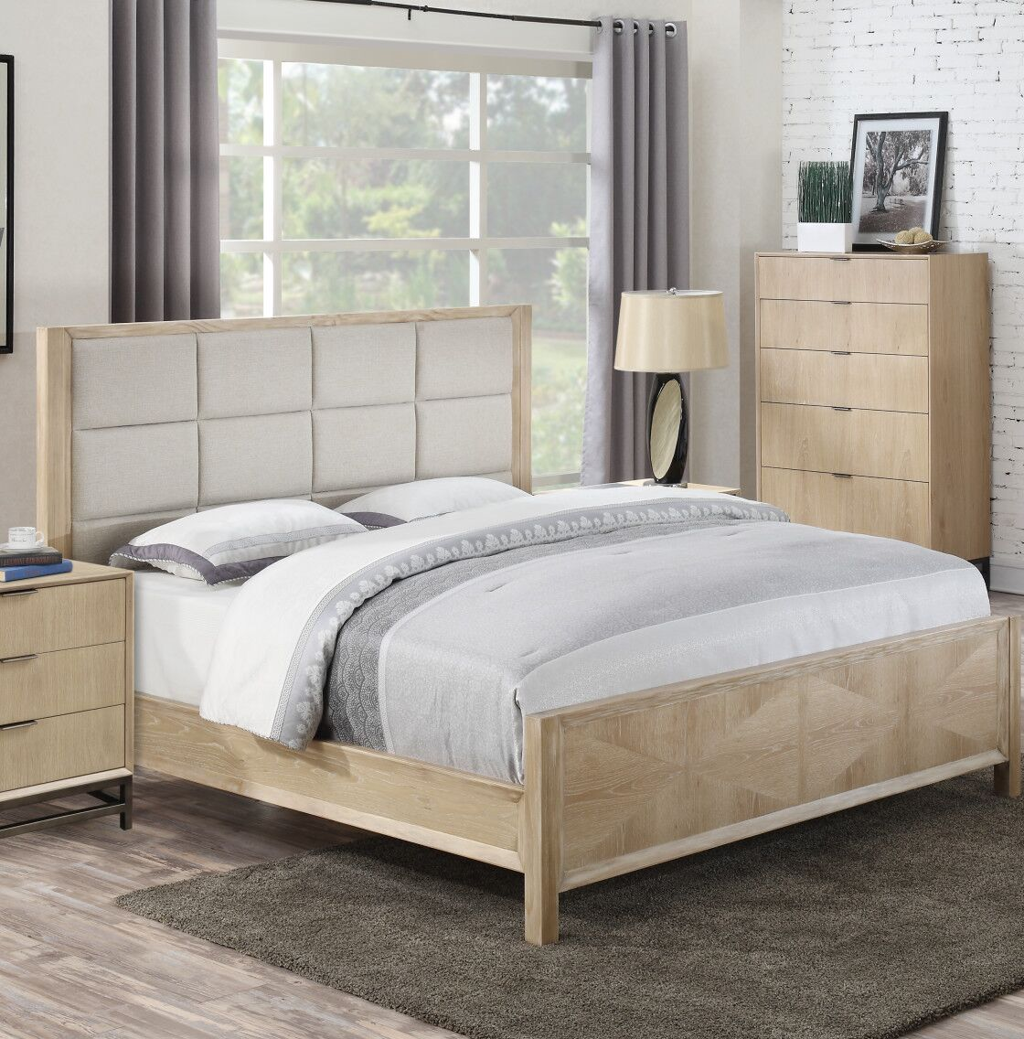 Holmquist Upholstered Panel Bed Size: King