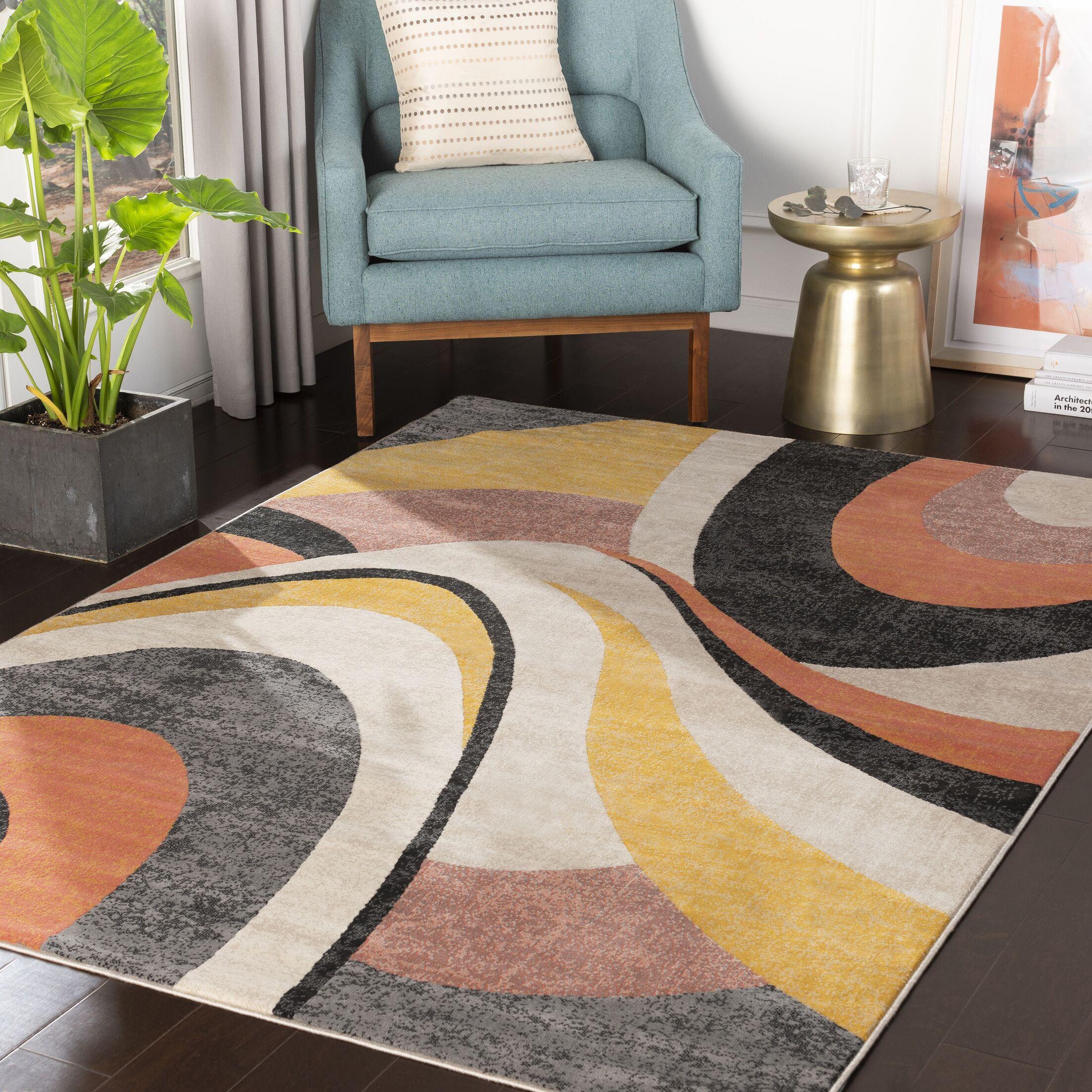 Huerta Modern Abstract Coral/Taupe Area Rug Rug Size: Rectangle 3'11'' x 5'7''