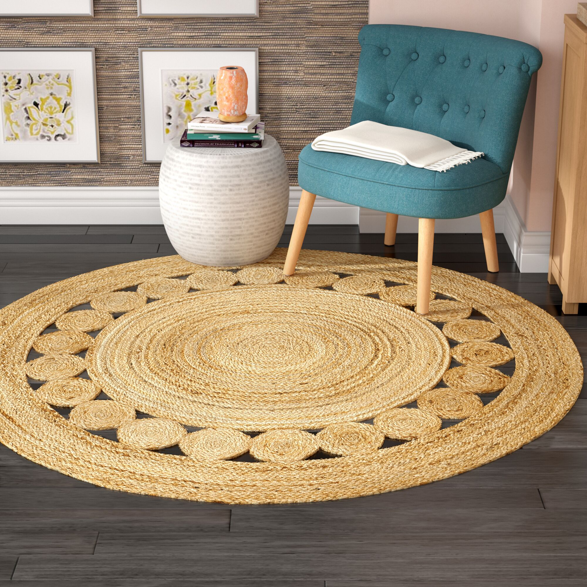 Mindy Hand-Woven Natural Area Rug Rug Size: Round 6'