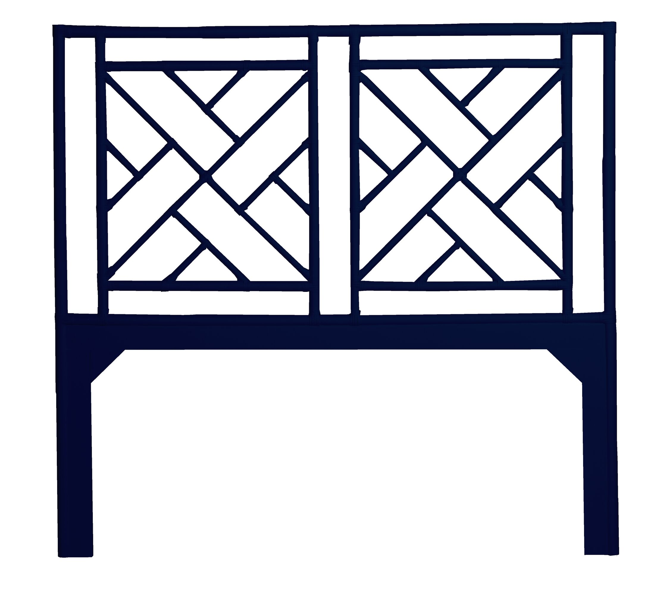 Olga Chippendale Open-Frame Headboard Color: Navy, Size: Queen