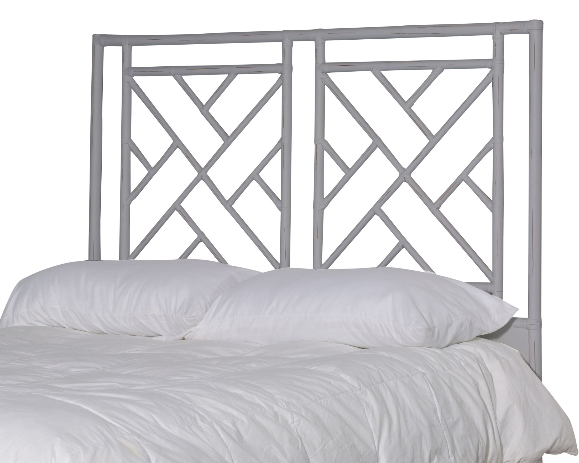 Olga Chippendale Open-Frame Headboard Color: Smoke, Size: Queen