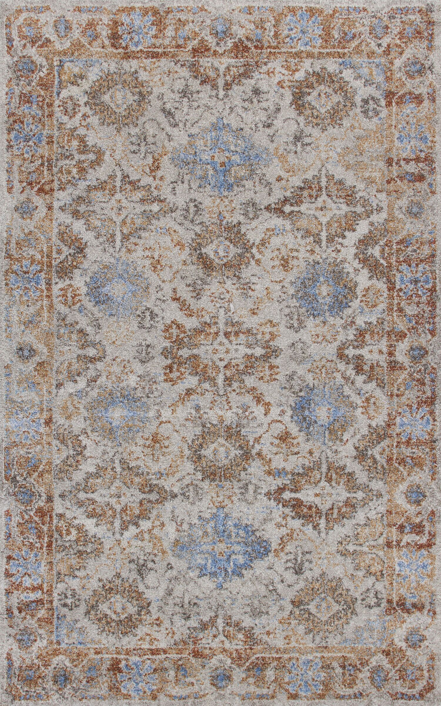Talbotton Putty Orange/Brown/Blue Area Rug Rug Size: Rectangle 7'10