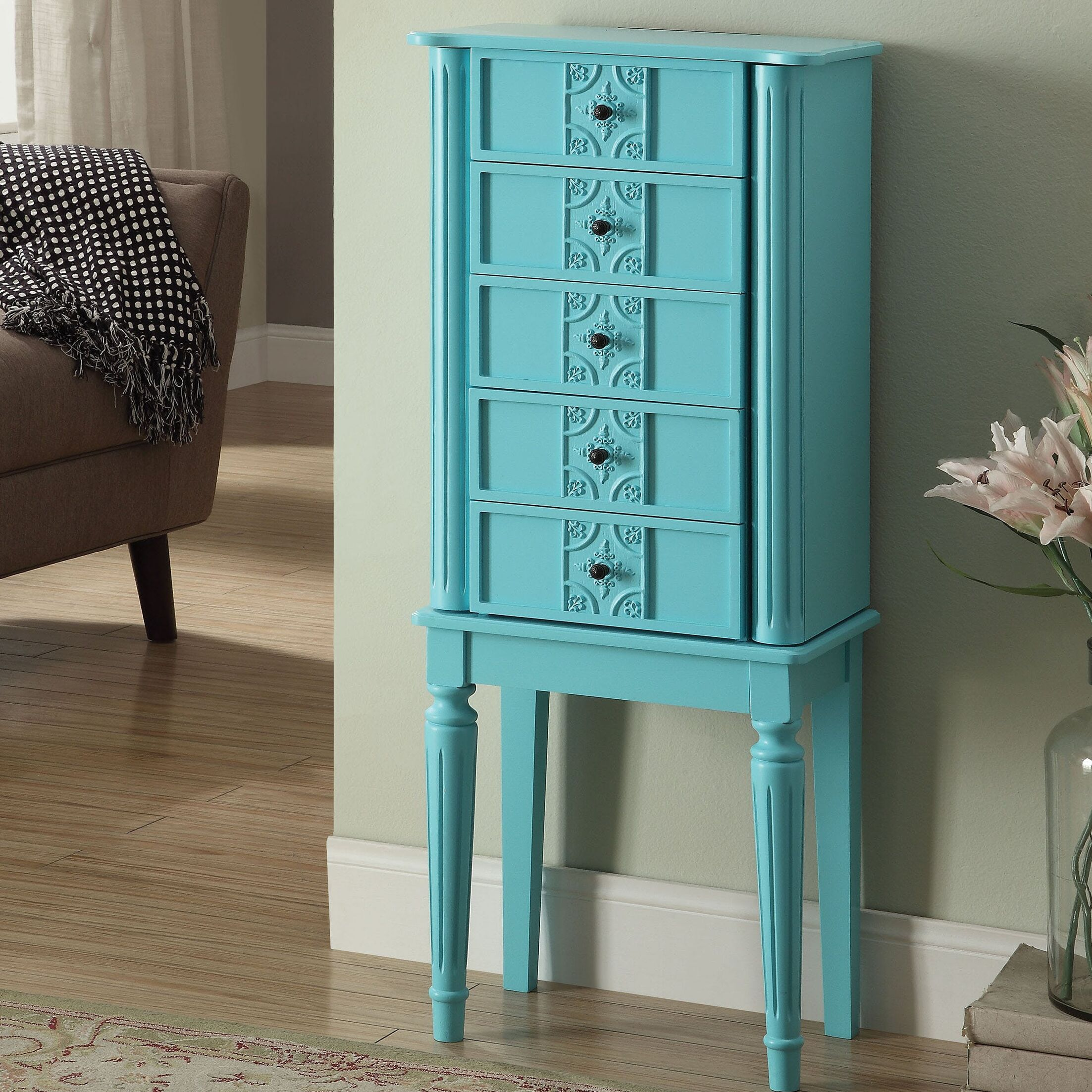 Hinrichs Wood Free Standing Jewelry Armoire Color: Light Blue
