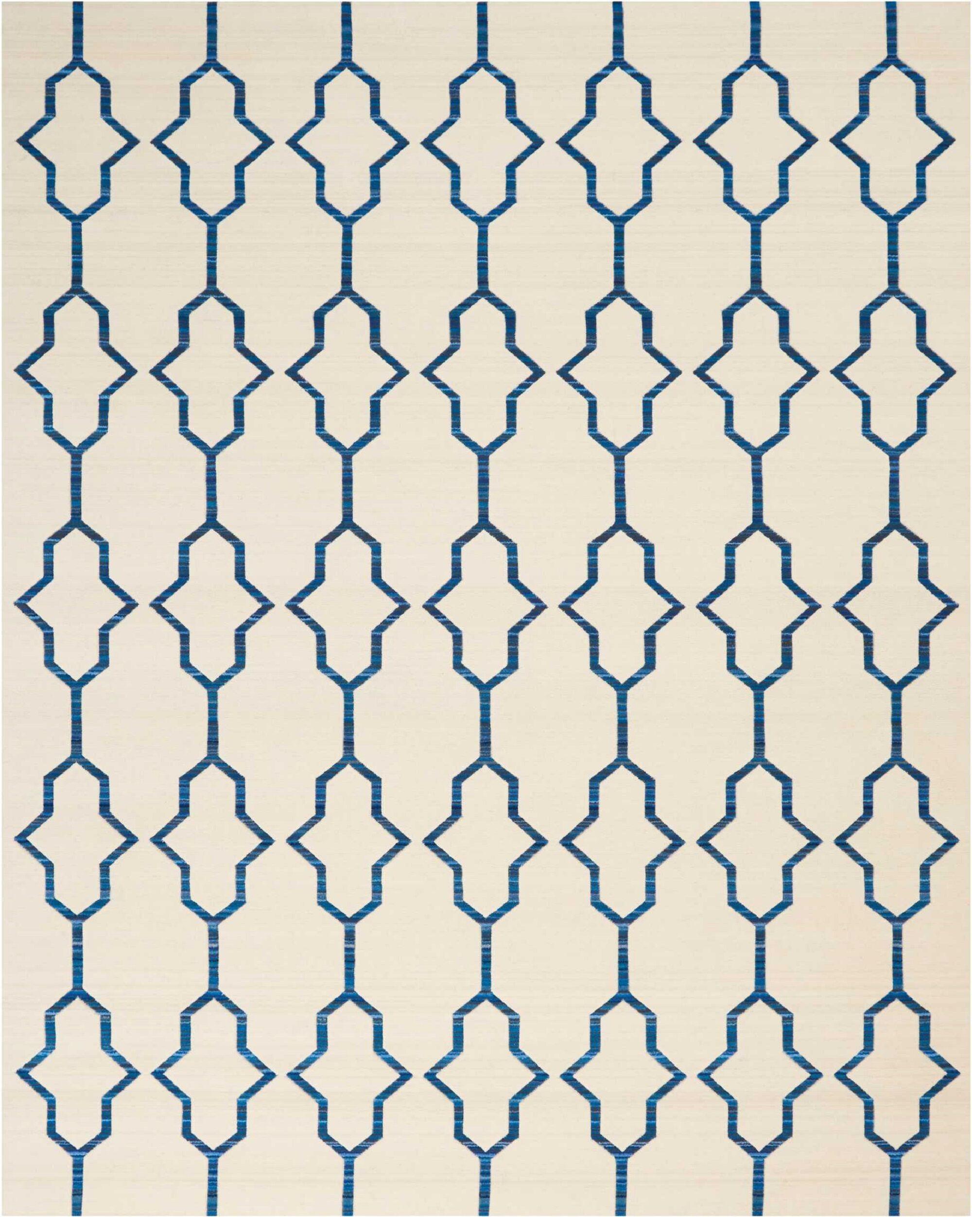 Ivory/Navy Blue Area Rug Rug Size: Rectangle 8'6