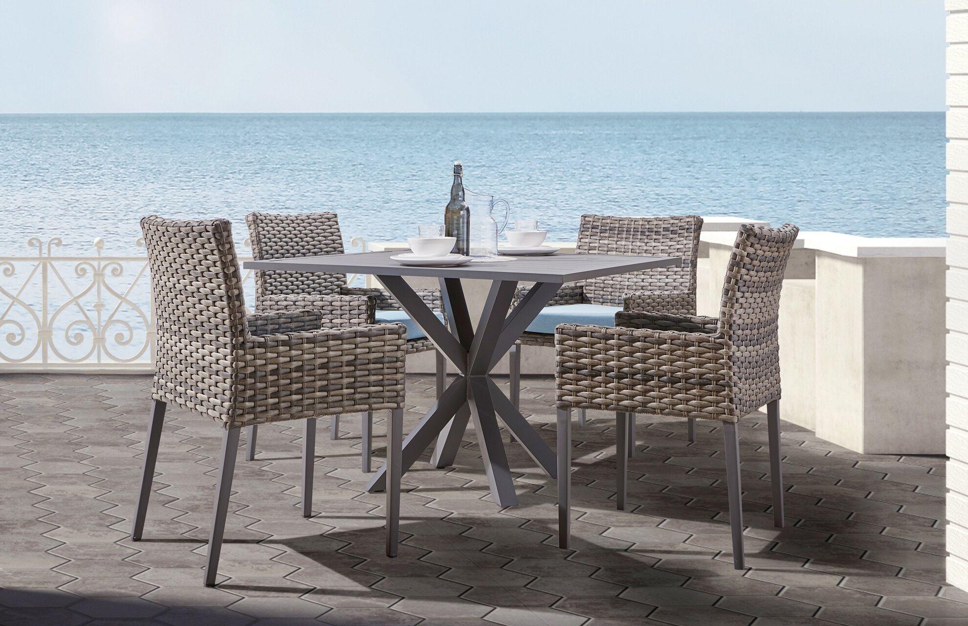 Doyle 5 Piece Sunbrella Patio Dining Set with Cushions Cushion Color: Canvas Aquamarine