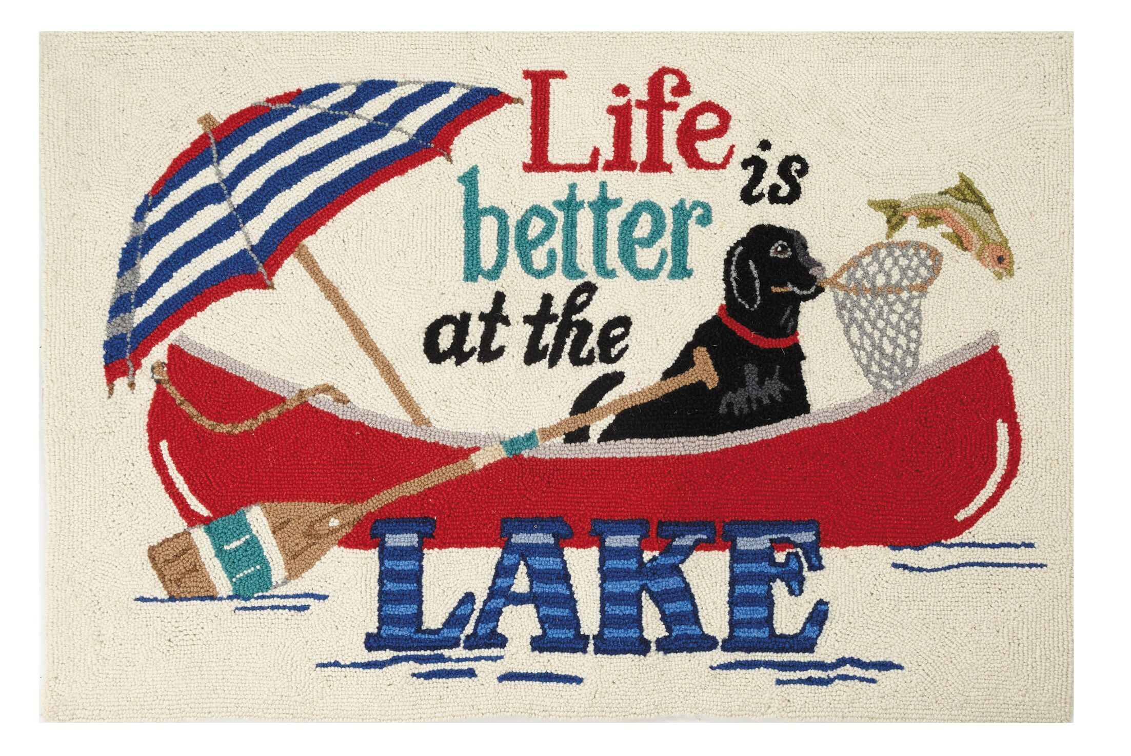 Alina Life is Better at the Lake Hand-Hooked Wool Red/Blue Area Rug