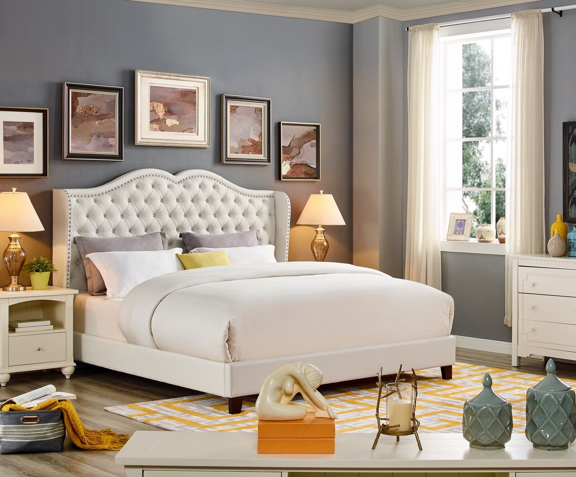 Nobhill Upholstered Panel Bed Color: White, Size: California King