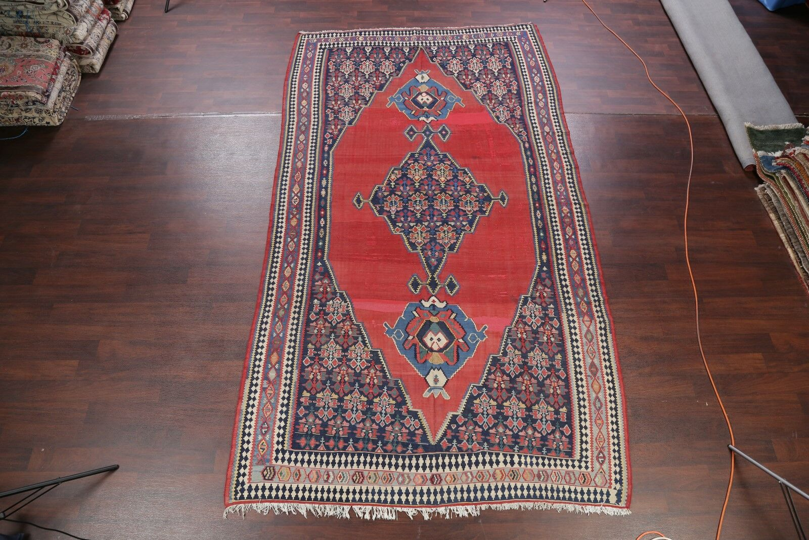 One-of-a-Kind Kilim Geometric Russian Oriental Hand-Knotted 6'10