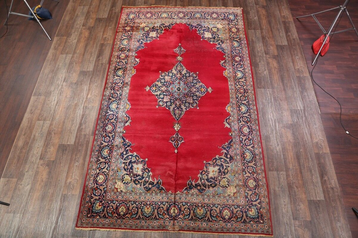 One-of-a-Kind Traditional Kashan Persian Hand-Knotted 7' x 12' Wool Red/Blue Area Rug