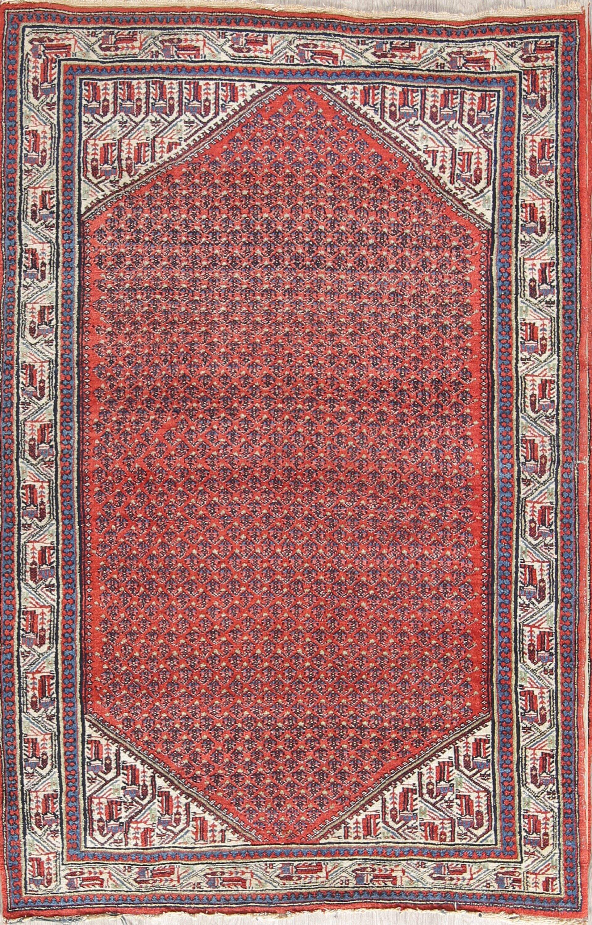 One-of-a-Kind Botemir Geometric Traditional Persian Hand-Knotted 4'4
