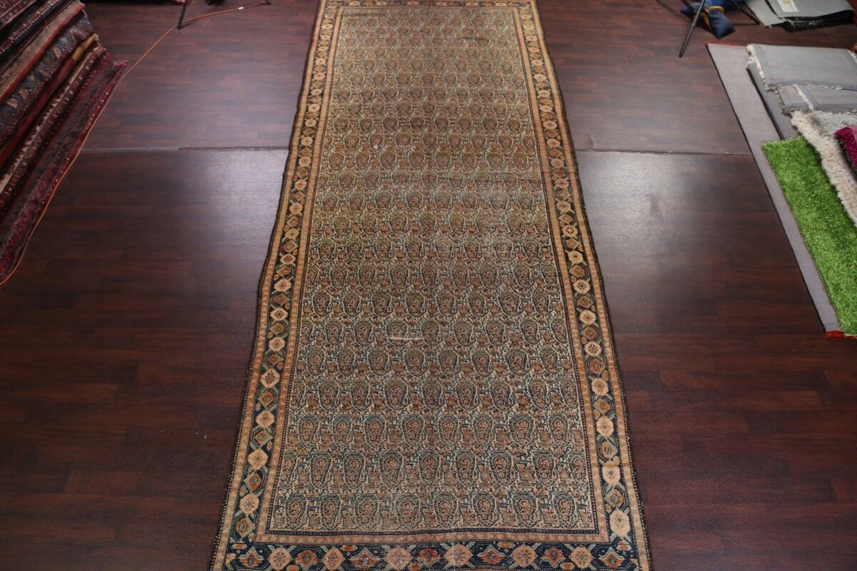 One-of-a-Kind Geometric Senneh Bidjar Persian Hand-Knotted 12'8