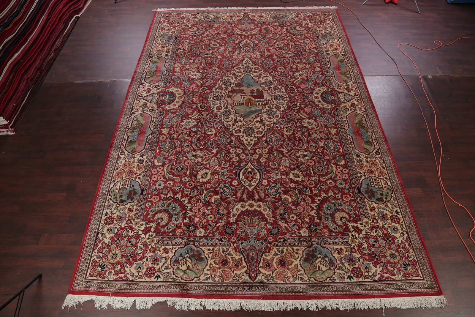 One-of-a-Kind Signed Geometric Tabriz Persian Hand-Knotted 11'4