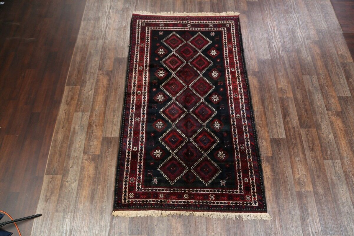 One-of-a-Kind Traditional Hamedan Geometric Persian Hand-Knotted 5'4