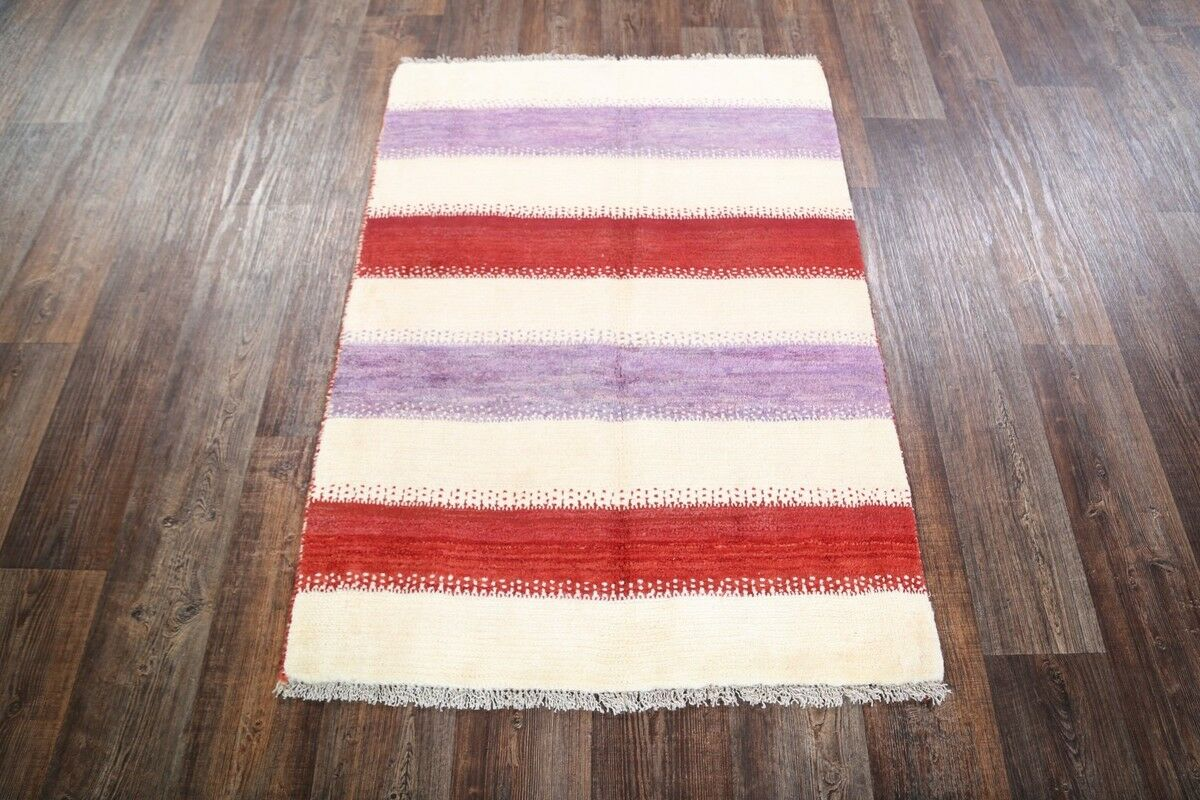 One-of-a-Kind Traditional Tribal Gabbeh Persian Hand-Knotted 3'3