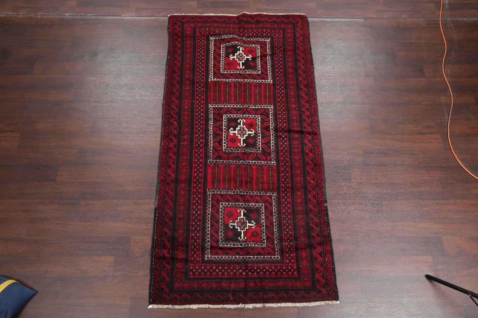 One-of-a-Kind Traditional Balouch Persian Hand-Knotted 3'8