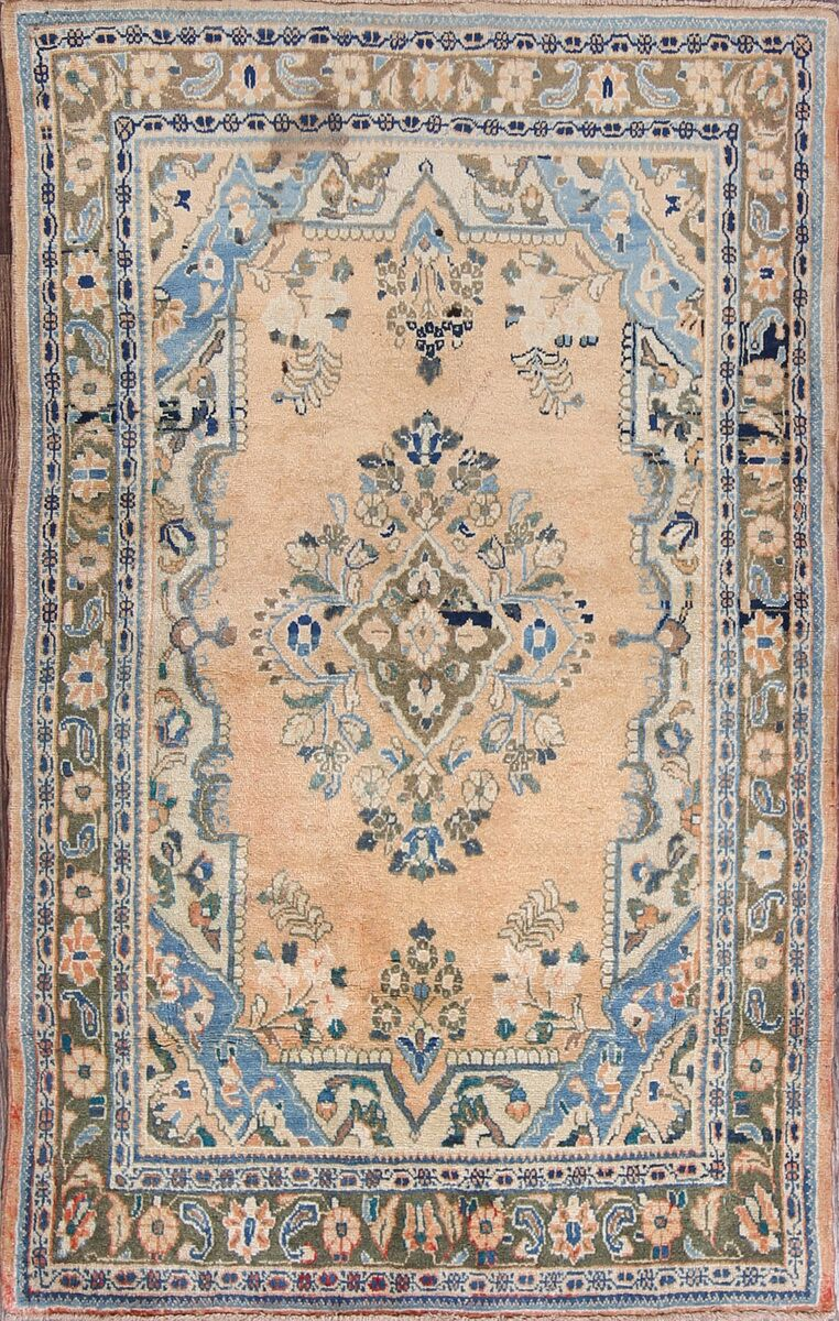 One-of-a-Kind Hamedan Geometric Persian Hand-Knotted 4'2