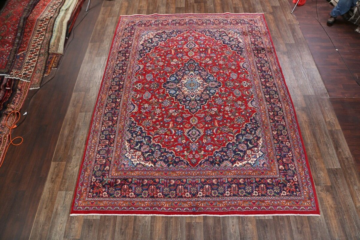 One-of-a-Kind Floral Mashad Persian Hand-Knotted 9'9