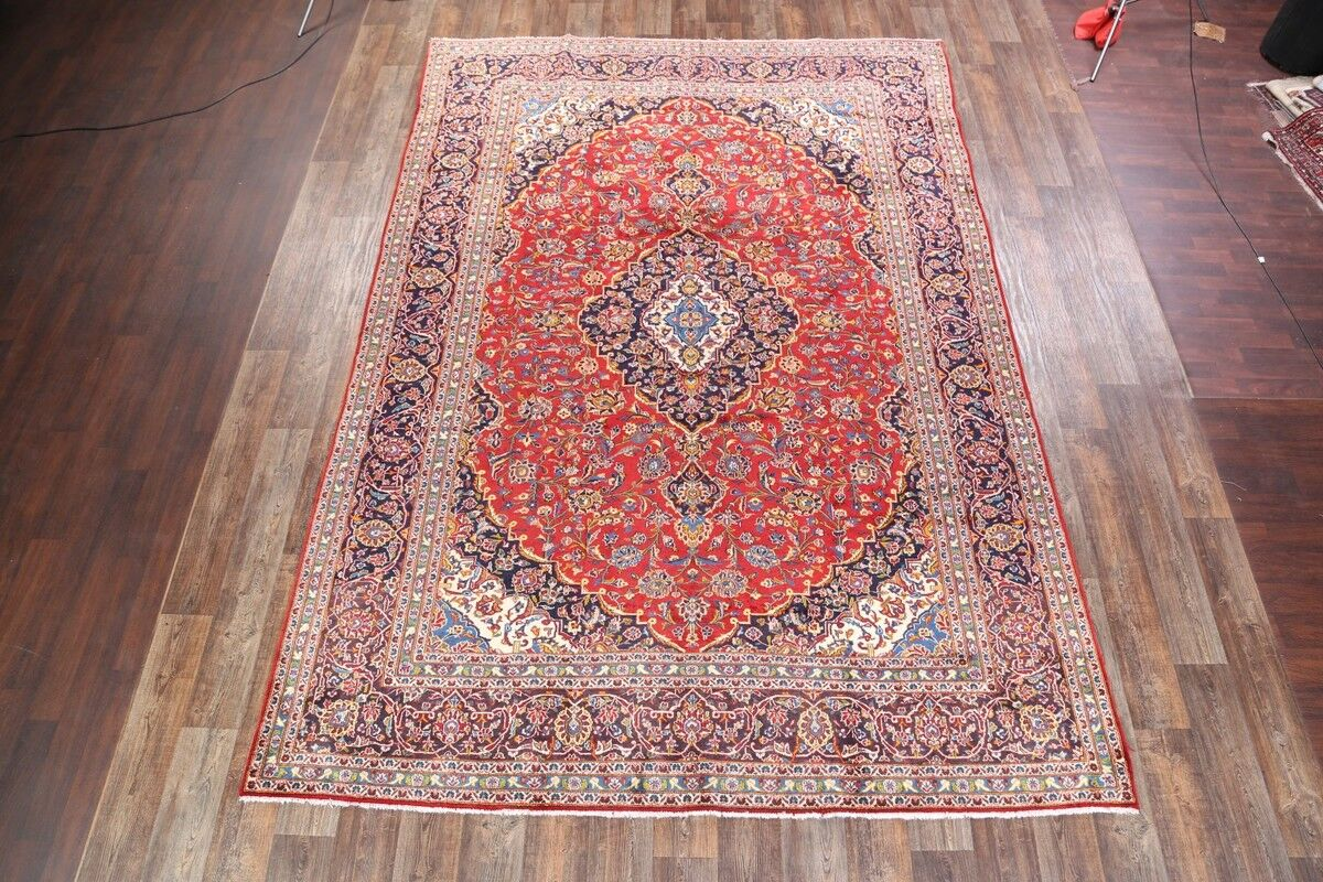 One-of-a-Kind Traditional Kashan Persian Hand-Knotted 9'2