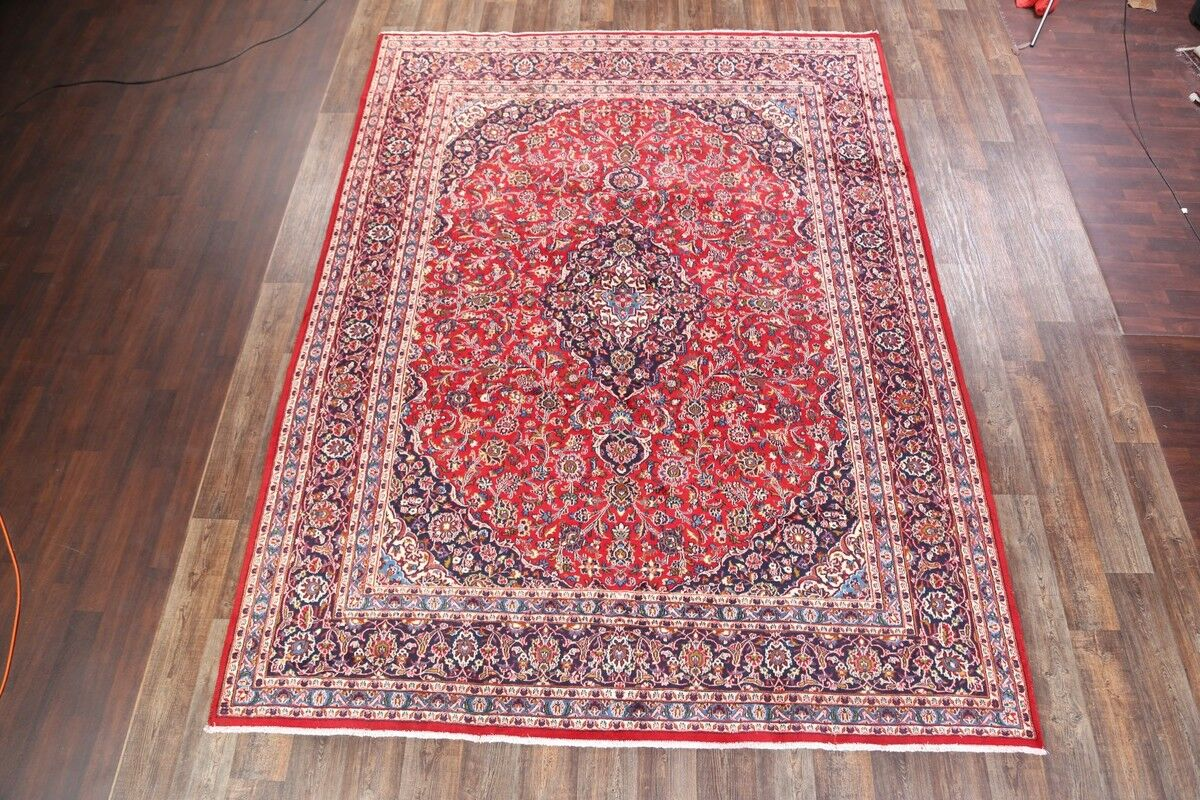 One-of-a-Kind Classical Mashad Persian Traditional Hand-Knotted 9'8