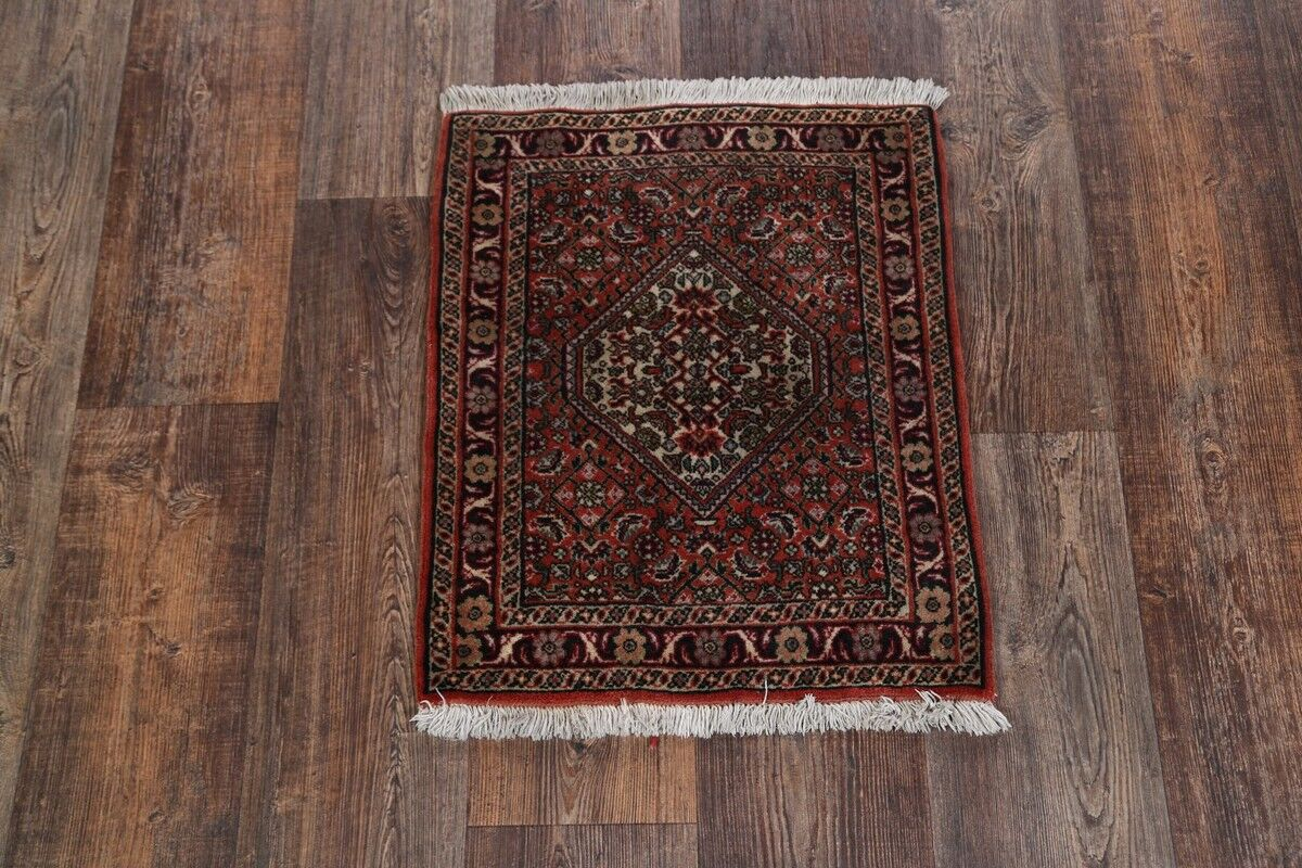 One-of-a-Kind Bidjar Traditional Persian Hand-Knotted 1'8'' x 2' Wool Green/Burgundy/Beige Area Rug