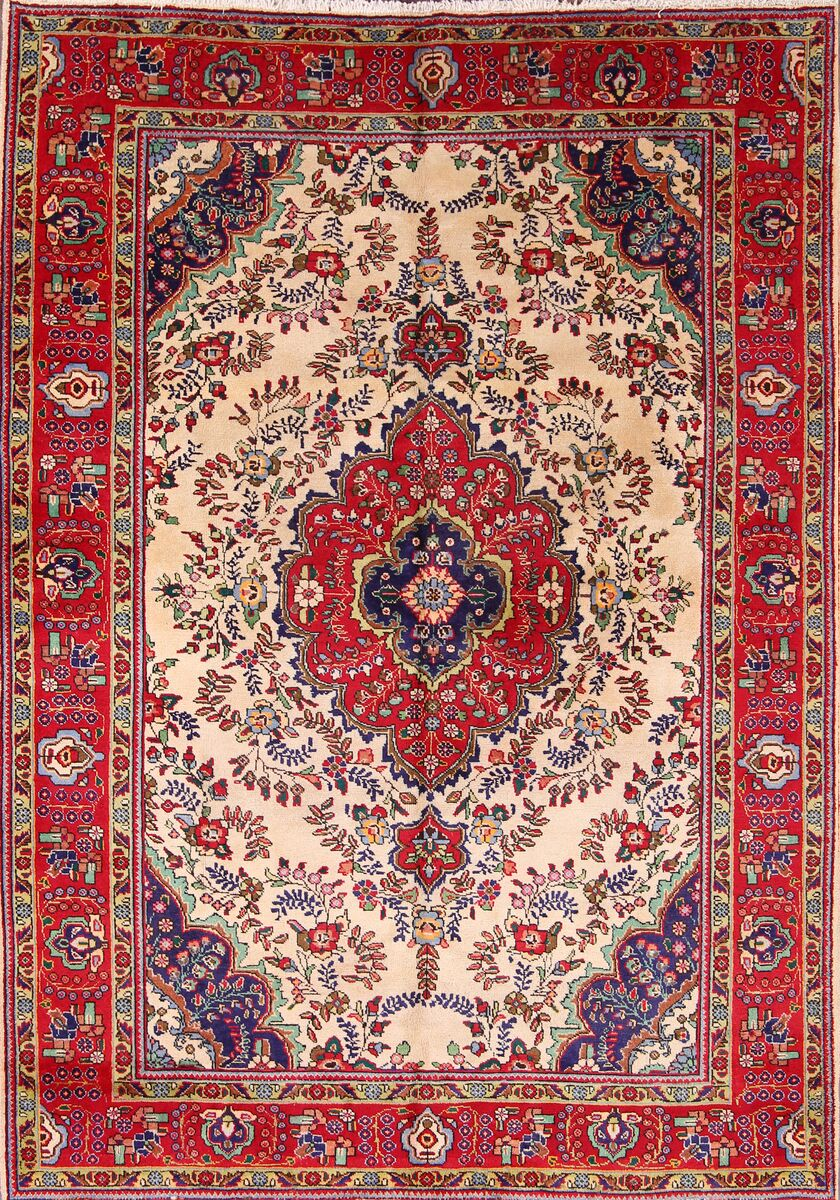 One-of-a-Kind Mccorkle Traditional Geometric Tabriz Persian Hand-Knotted 6'10