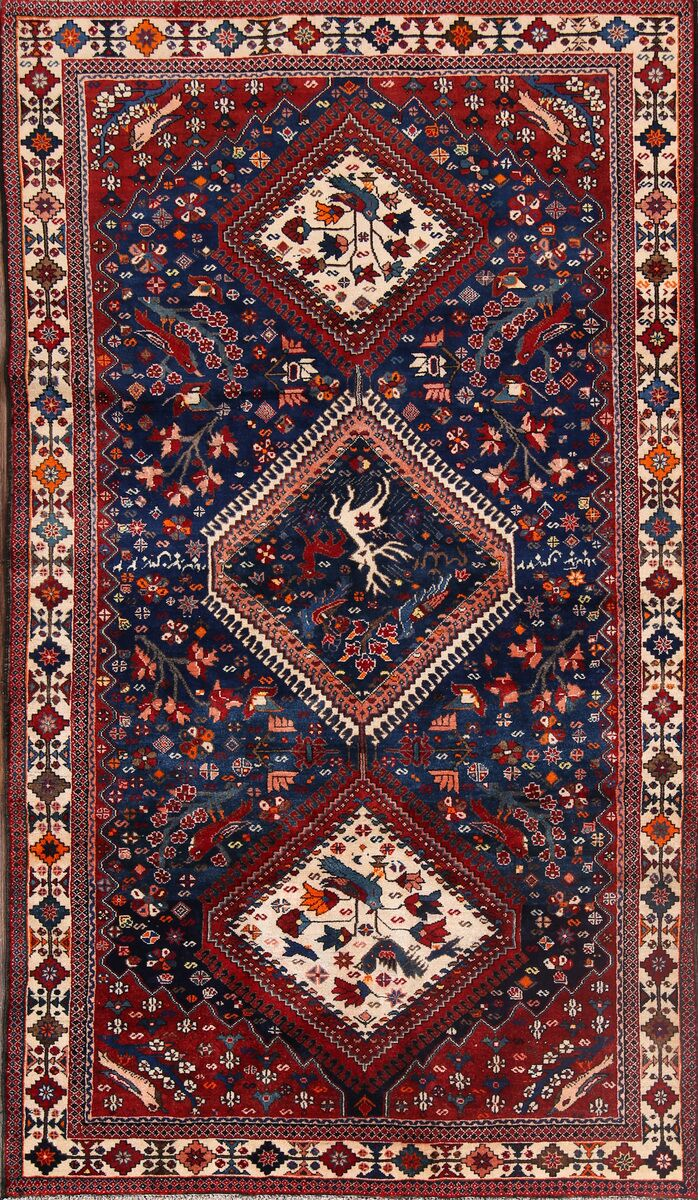 One-of-a-Kind Traditional Geometric Bakhtiari Saman Persian Hand-Knotted 5'3