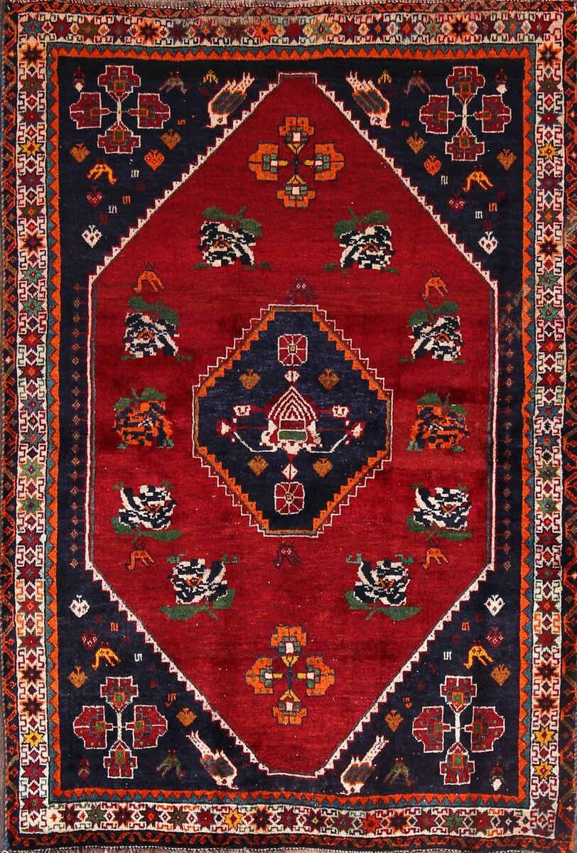 One-of-a-Kind Ghashghaei Shiraz Classical Persian Hand-Knotted 3'9