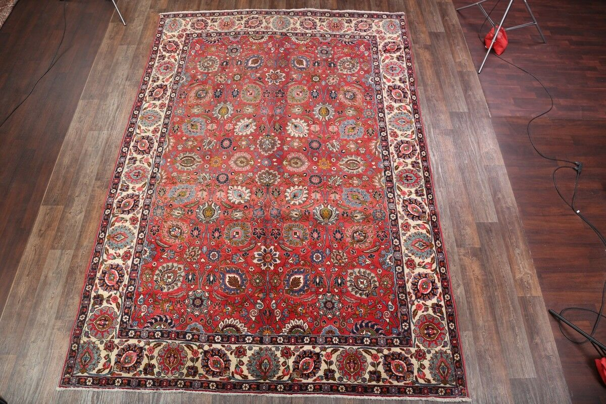 One-of-a-Kind Epes Geometric Tabriz Persian Hand-Knotted 9'1